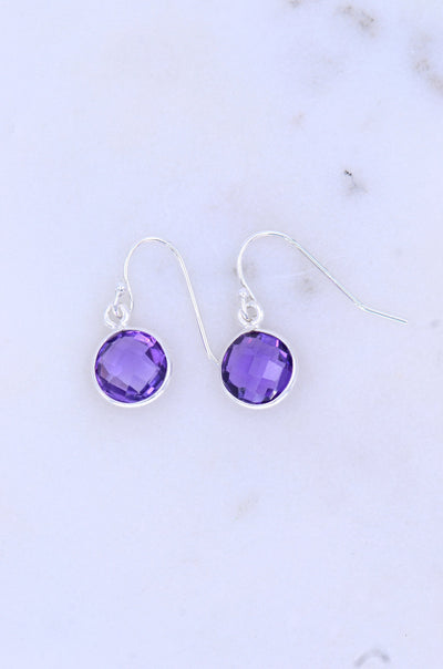 Purple Amethyst Earring, Dangling Earring, Gemstone Silver Earring, February Birthstone earring, Cute Earring for her, Everyday Earring