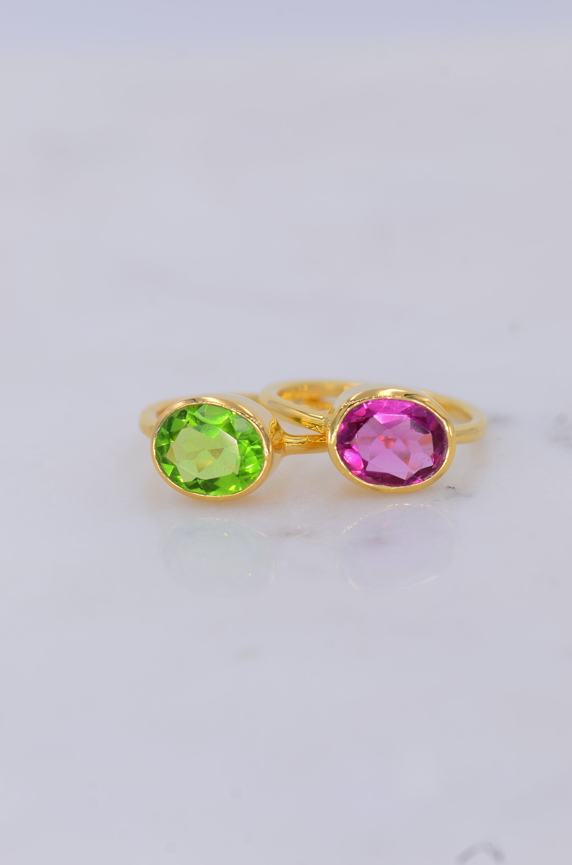 Valentine's gift for her, Duo Gemstone Ring, Birthstone ring, August Birthstone ring, Peridot ring, Pink Fuchsia ring, Gems stackable ring