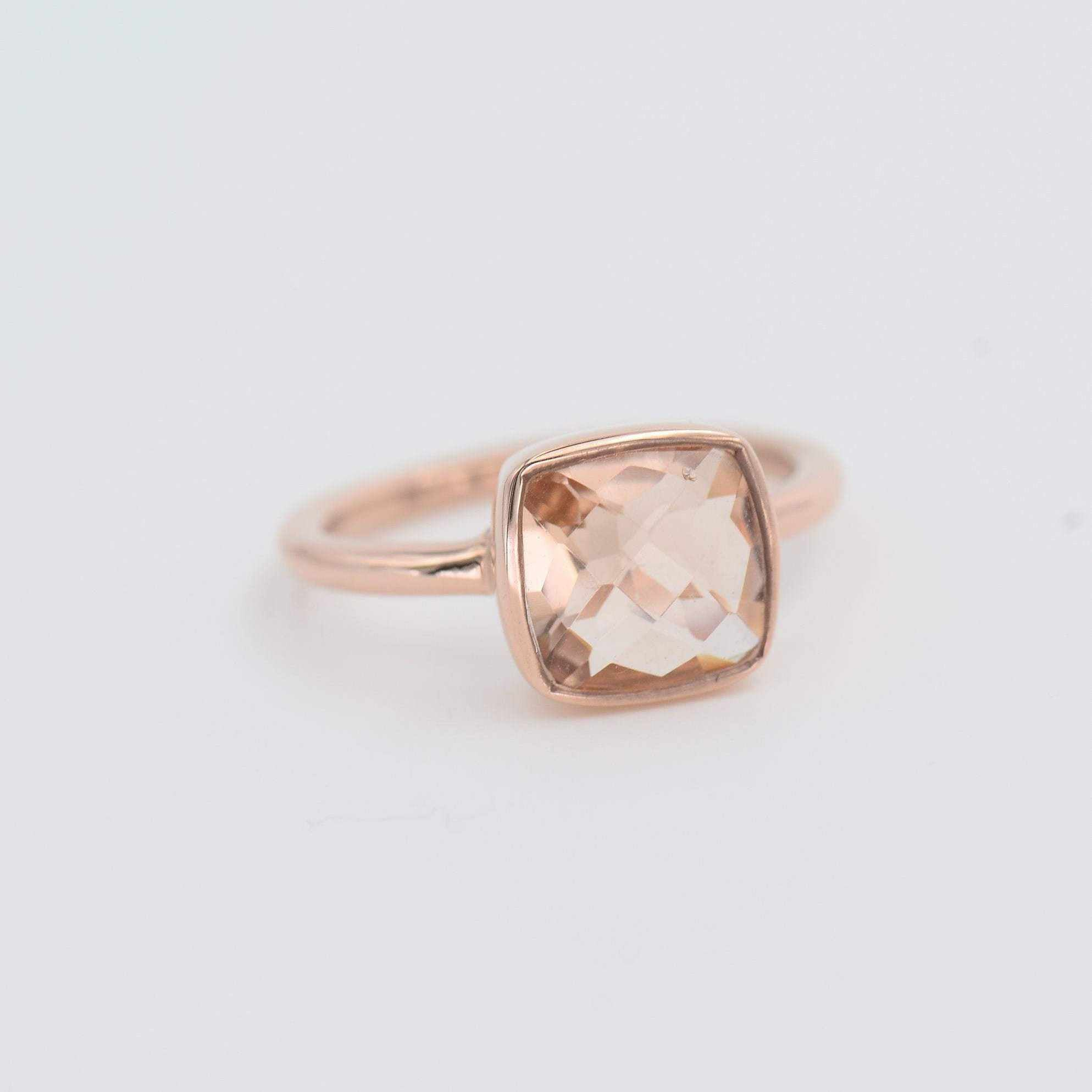 Morganite ring, Cushion Gemstone ring, Rose gold Morganite ring, Square Shape Stackable ring, Peach color stone ring, Everyday ring
