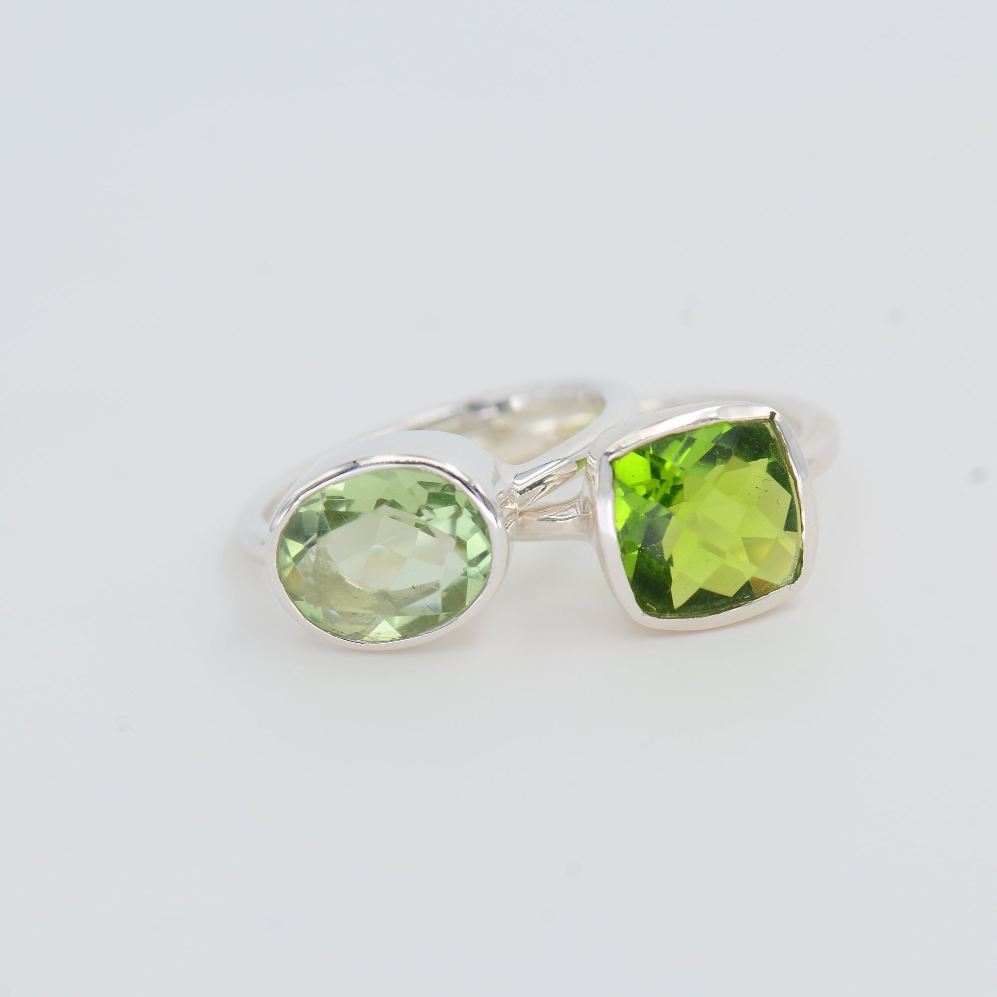 Green Amethyst Ring, Peridot Ring, August Birthstone ring, Sterling silver stackable Ring, Everyday Ring, Bezel set ring, Square ring