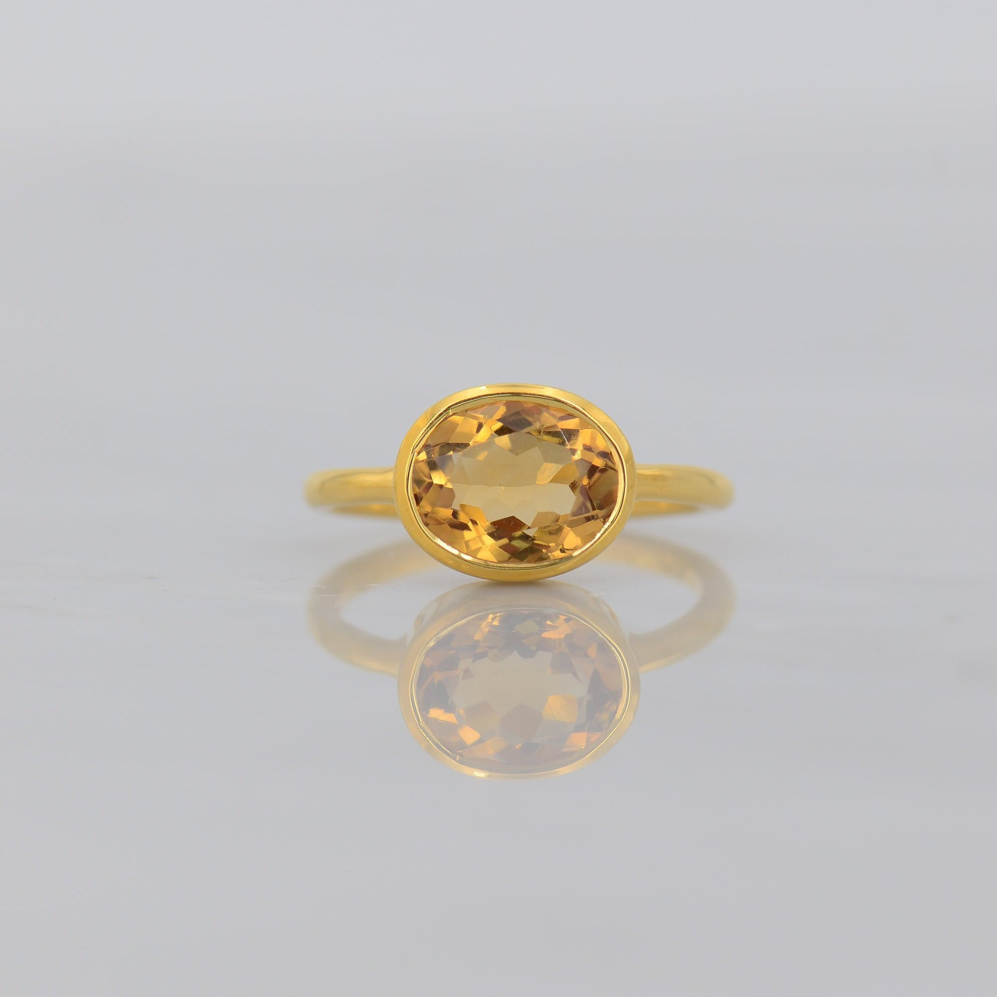 Fire Citrine ring, November birthstone ring, Stackable ring, Yellow Gemstone ring, Birthday gift, Simple Gemstone ring, Everyday ring