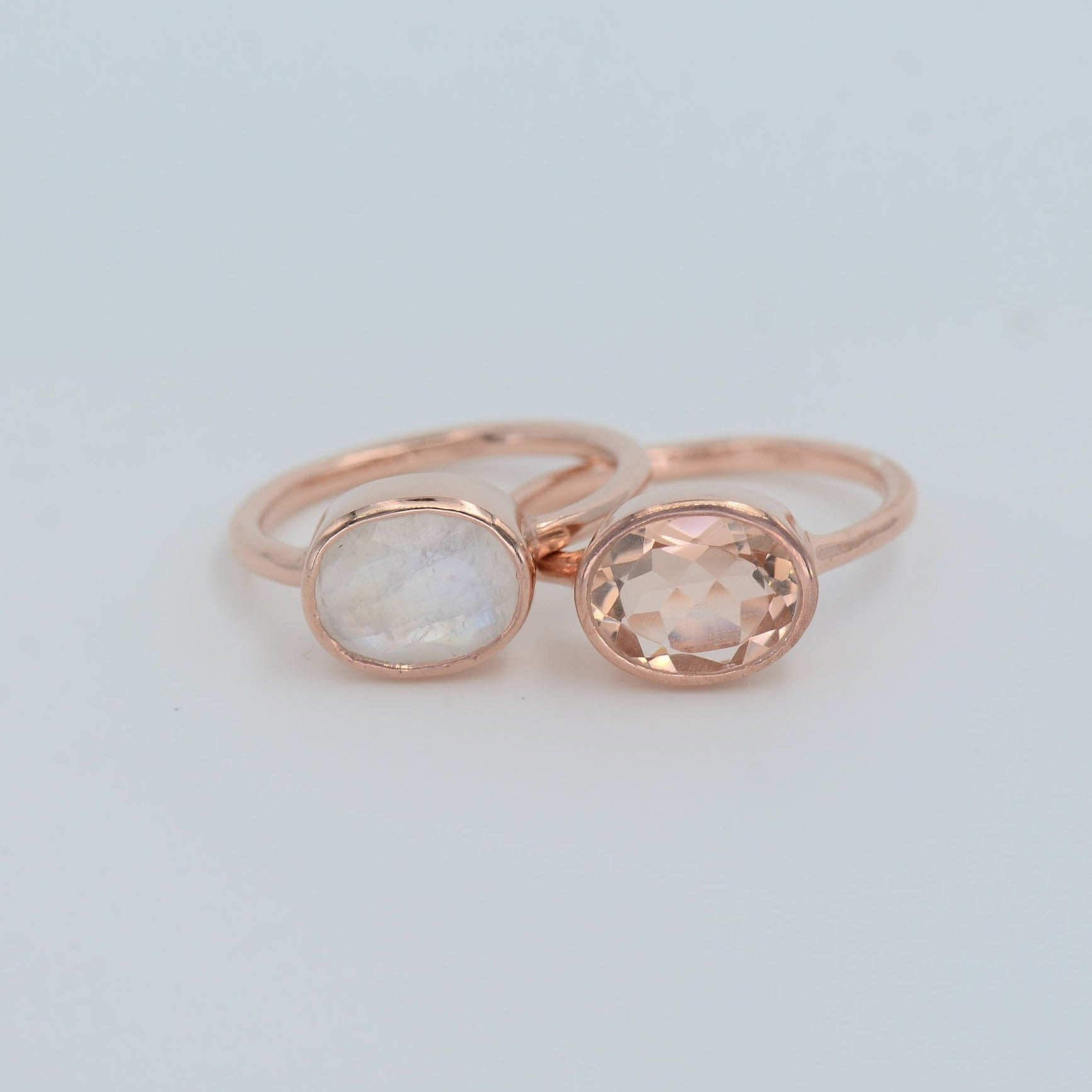 Rainbow Moonstone ring, Morganite ring, Duo Gemstone ring