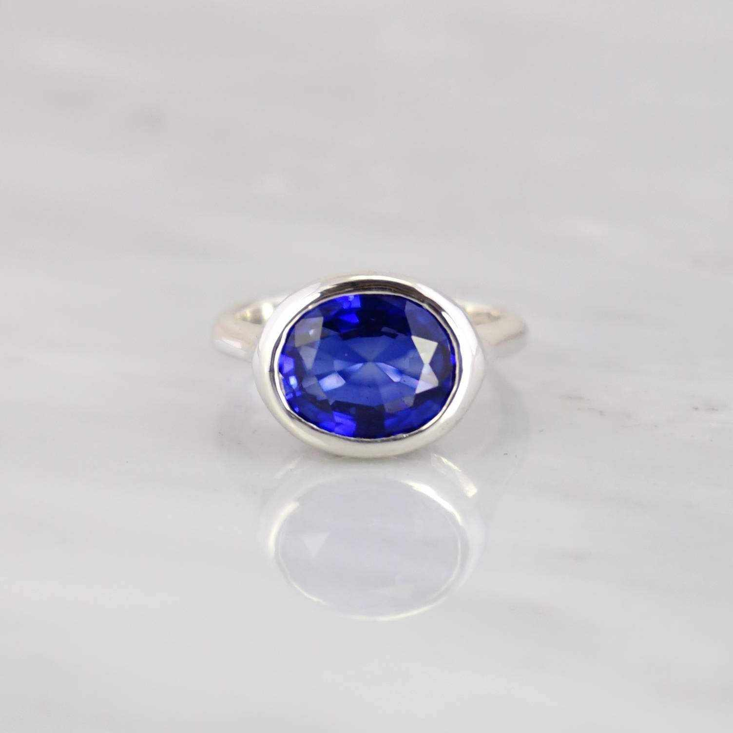 Blue Sapphire Ring, Silver Stackable ring