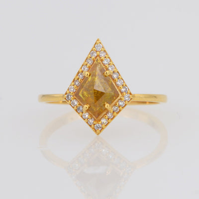 Salt and Pepper Diamond Ring, Kite Shape Diamond ring
