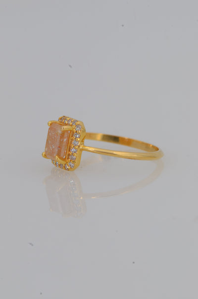 Emerald Cut Diamond ring, Salt and Pepper Diamond Ring