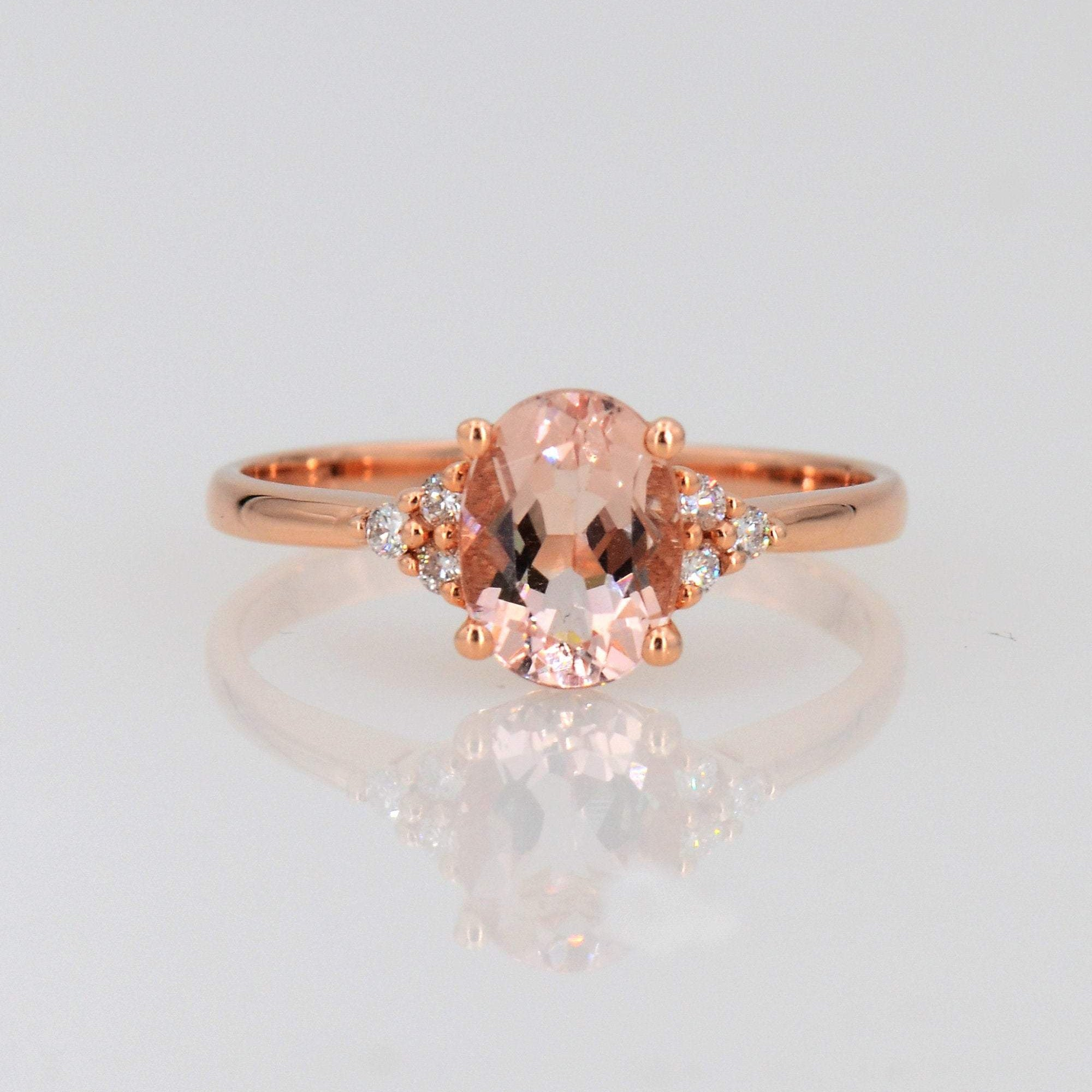 14k Rose Gold Bridal Ring, Morganite Solitaire Ring