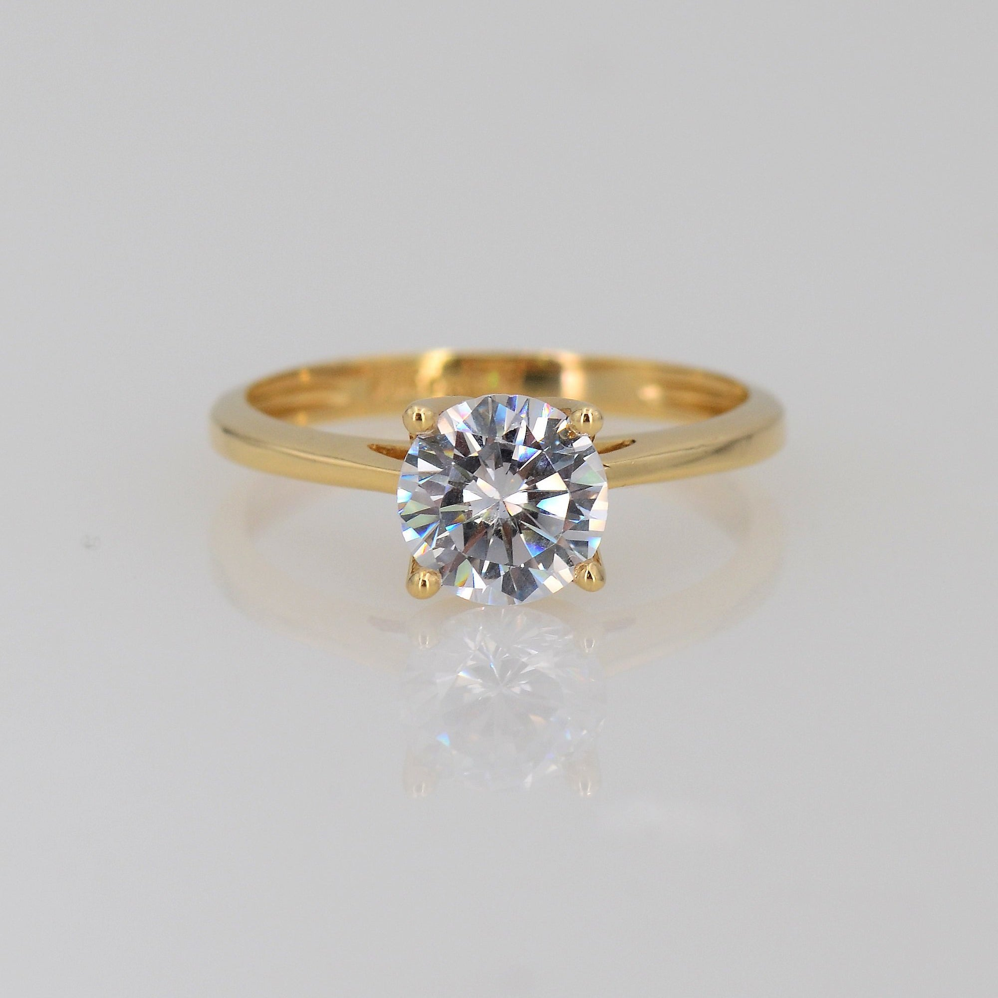 Solitaire Moissanite Ring, 7mm Round Moissanite Engagement Ring