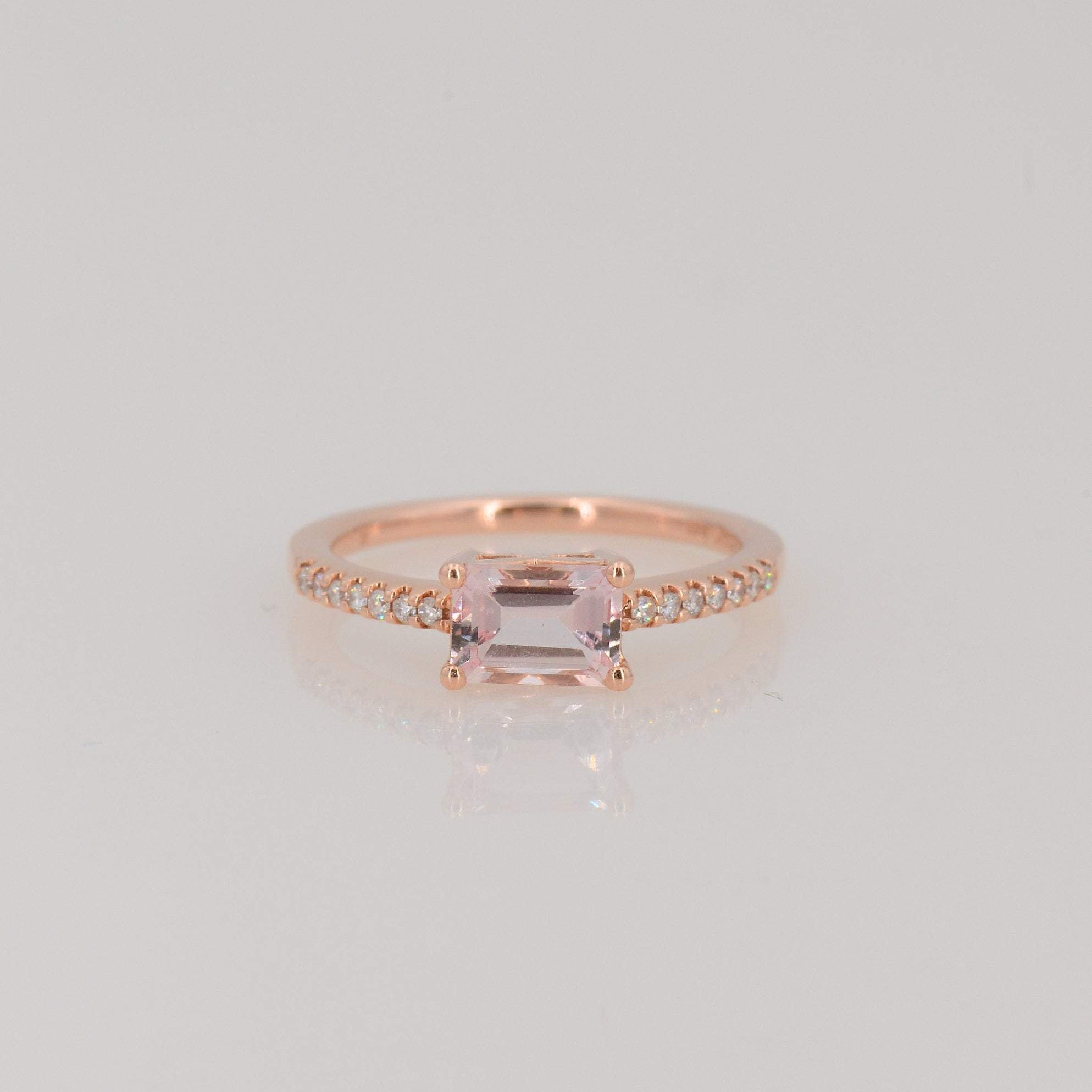 Morganite Solitaire ring, Diamond and Morganite