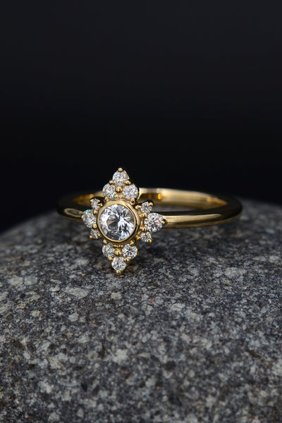 White Sapphire ring, Diamond gold ring