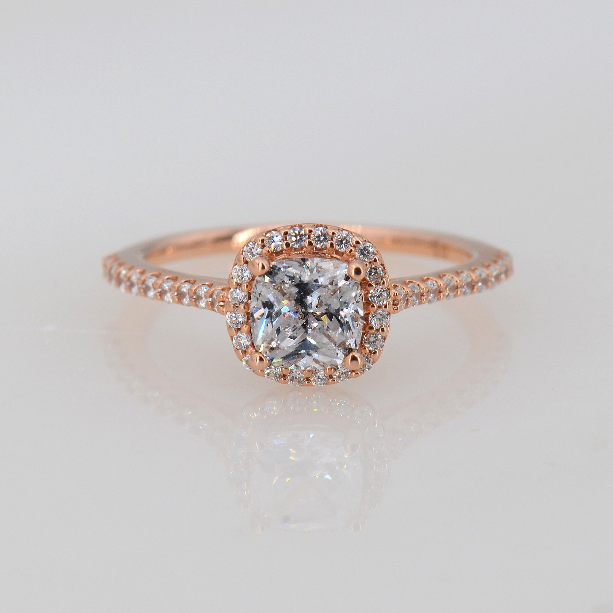 Moissanite Halo Ring, Moissanite Cushion Ring
