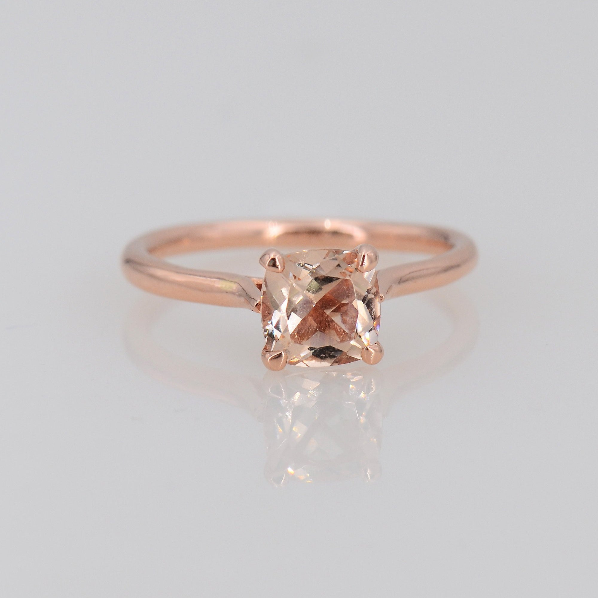 Morganite Rose Gold Ring, Solitaire Morganite Ring
