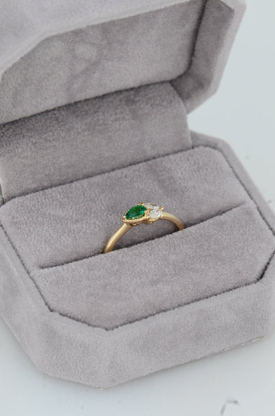 Emerald Delicate Diamond Ring, Solid Gold Minimalist Ring