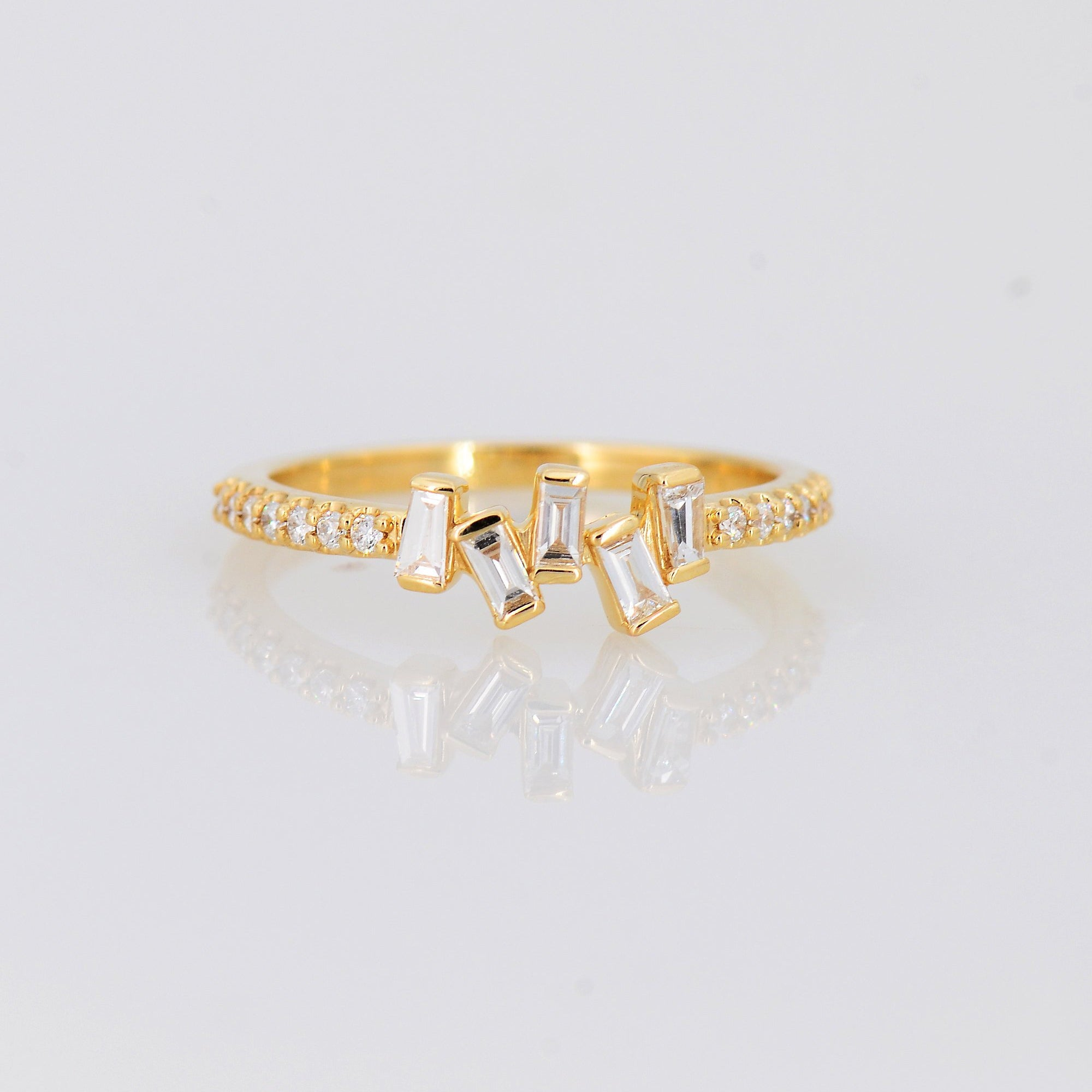 Delicate Diamond Ring, Baguette Diamond Ring