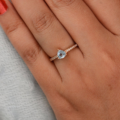 March Birthstone ring, Aquamarine Diamond ring