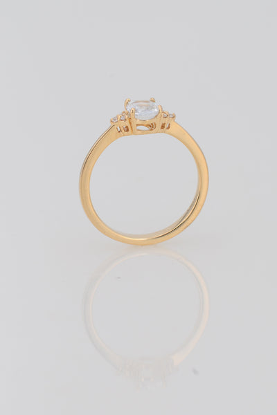 14k Solid Gold Bridal Ring, Aquamarine Ring