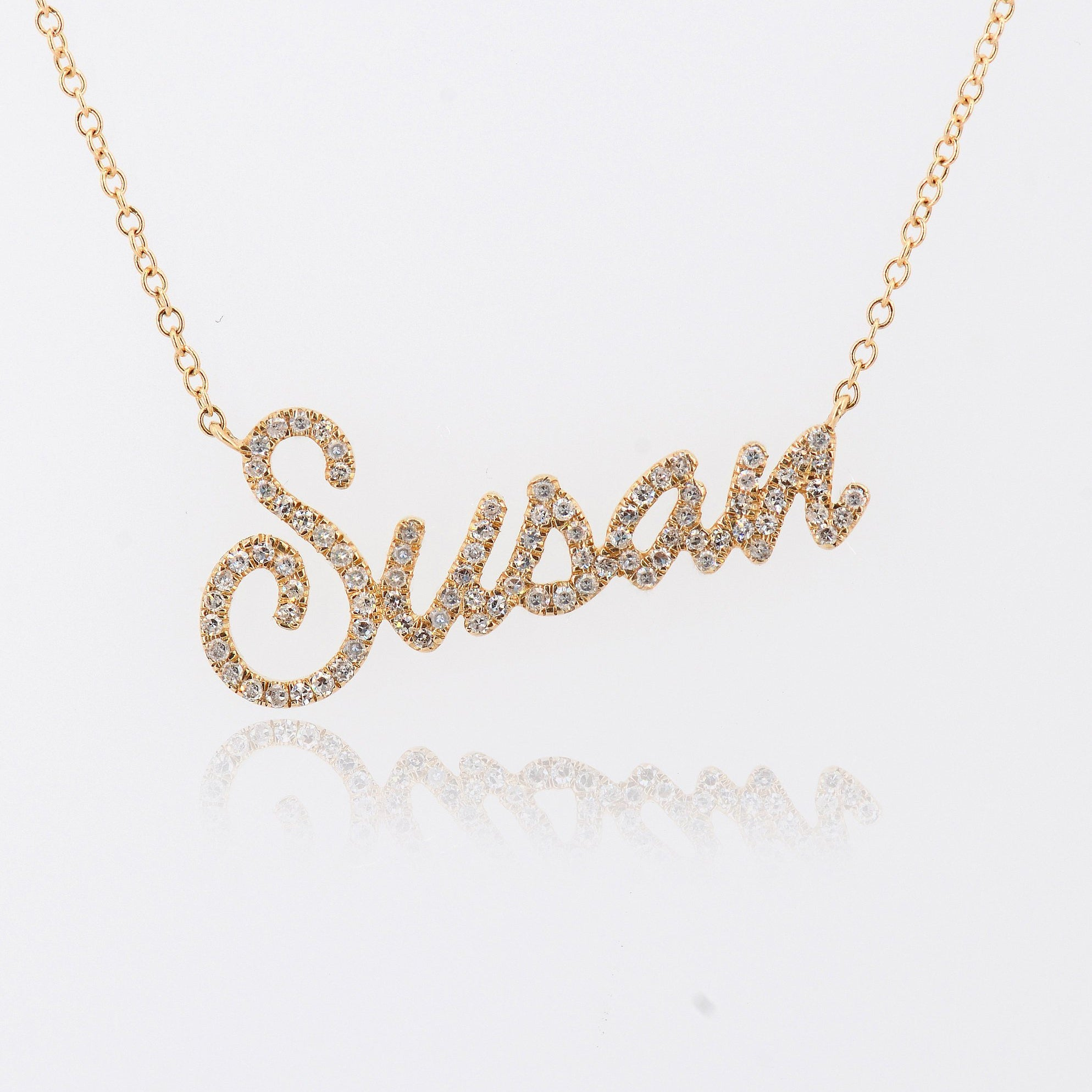 Diamond Personalized Name Necklace, Customized Diamond Initial Letter Chain