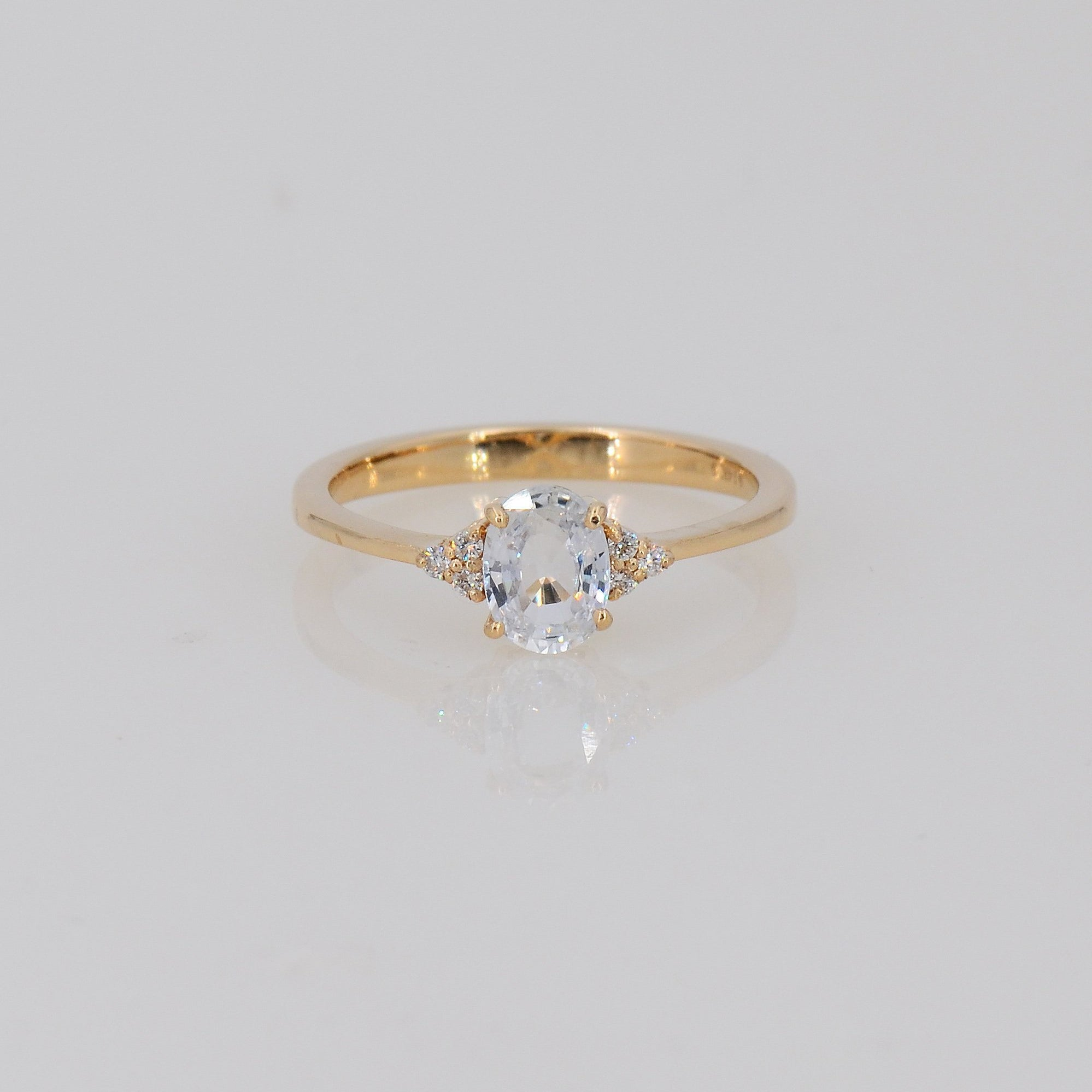 White Sapphire Ring, Genuine Gemstone ring