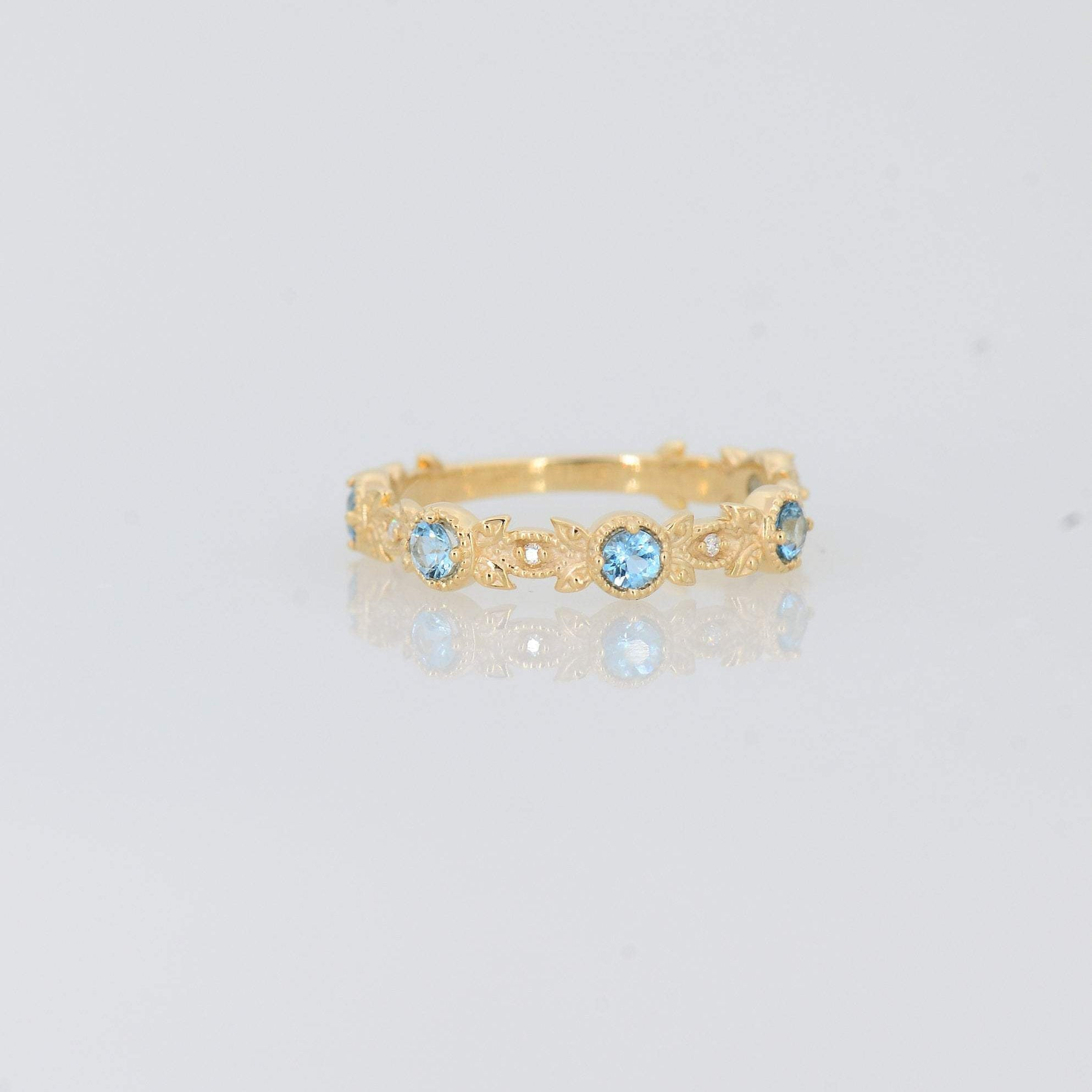 Aquamarine Engagement Ring, Delicate Diamond Ring