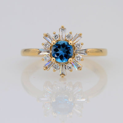 London Blue topaz Engagement ring, 14k Solid gold ring