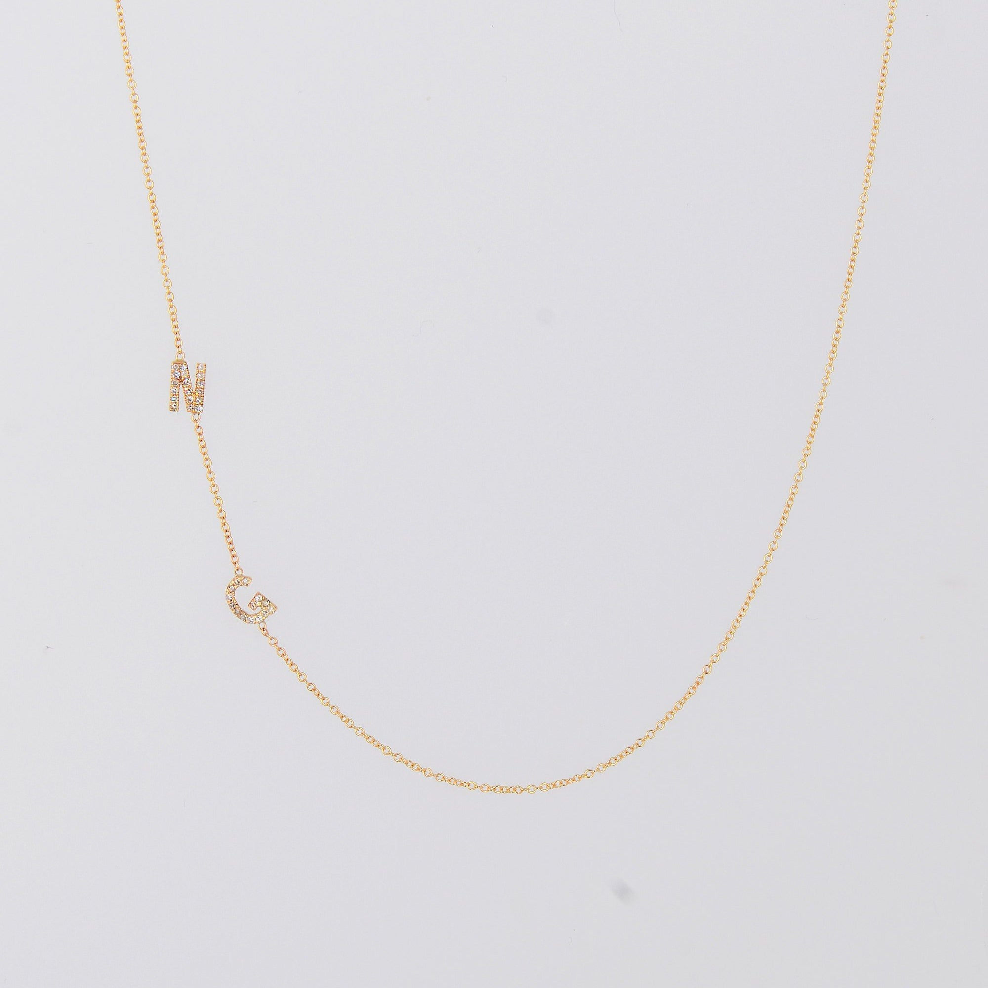 Meghan Markle Initial Necklace, Asymmetrical Initials Necklace