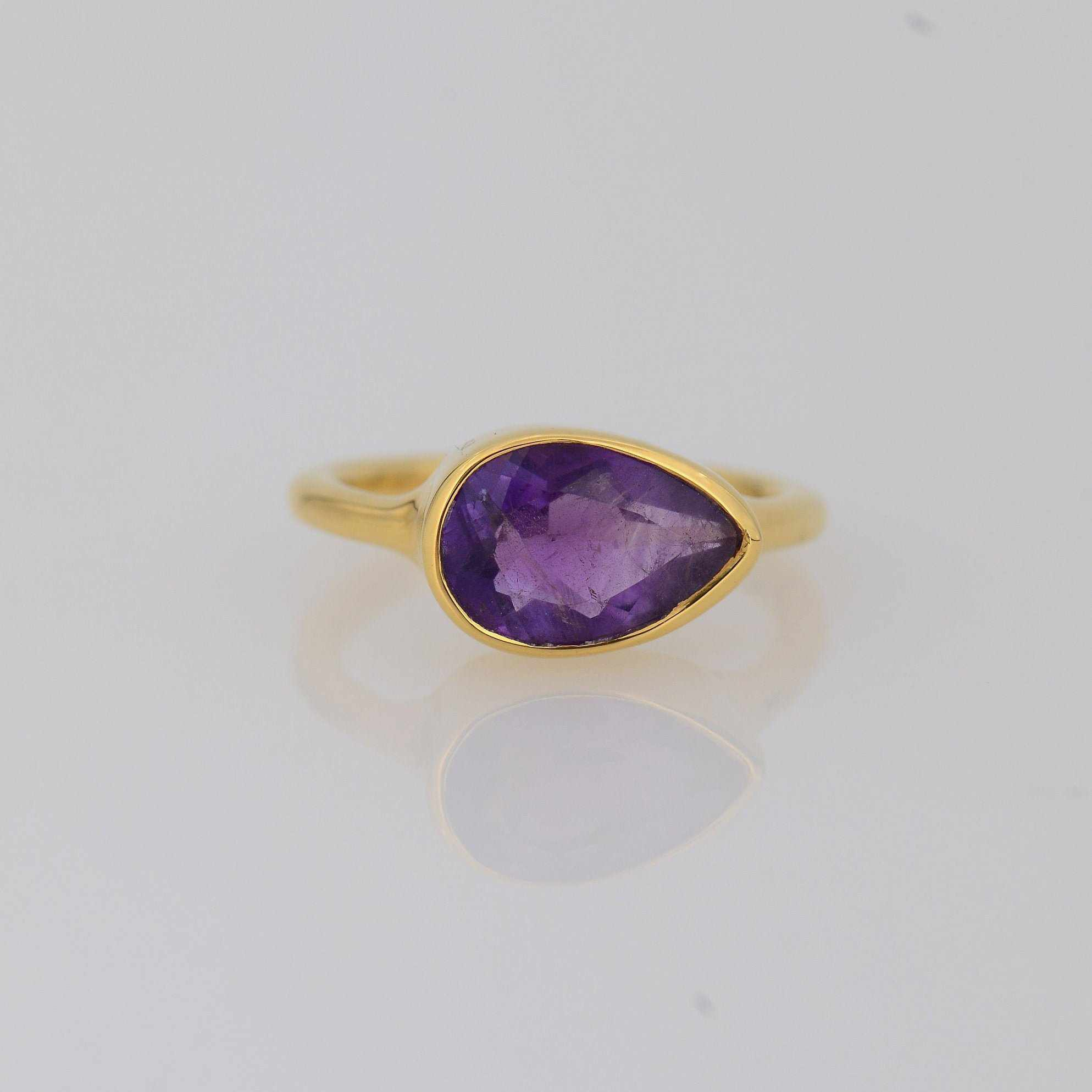 Amethyst Ring, Bezel set ring, February Birthstone Ring, Gold Ring, TearDrop Shaped Ring, Gemstone Ring, Stacking Ring, Purple Gemstone ring