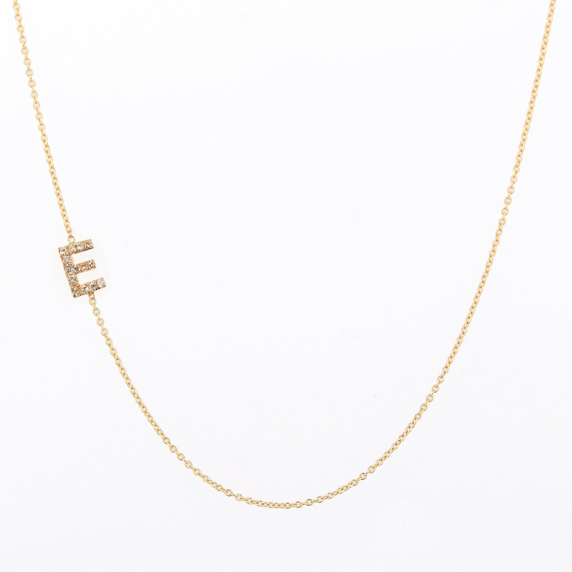 Diamond Sideways Necklace, Kids Initial Necklace