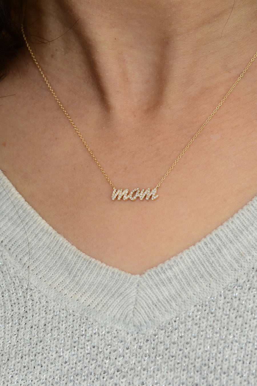 Diamond mom necklace, mothers necklace
