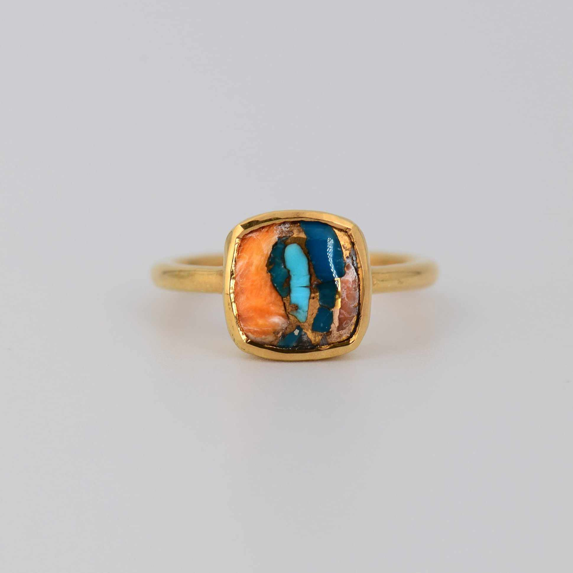 Turquoise Ring, Spiny Oyster Turquoise Cushion cut
