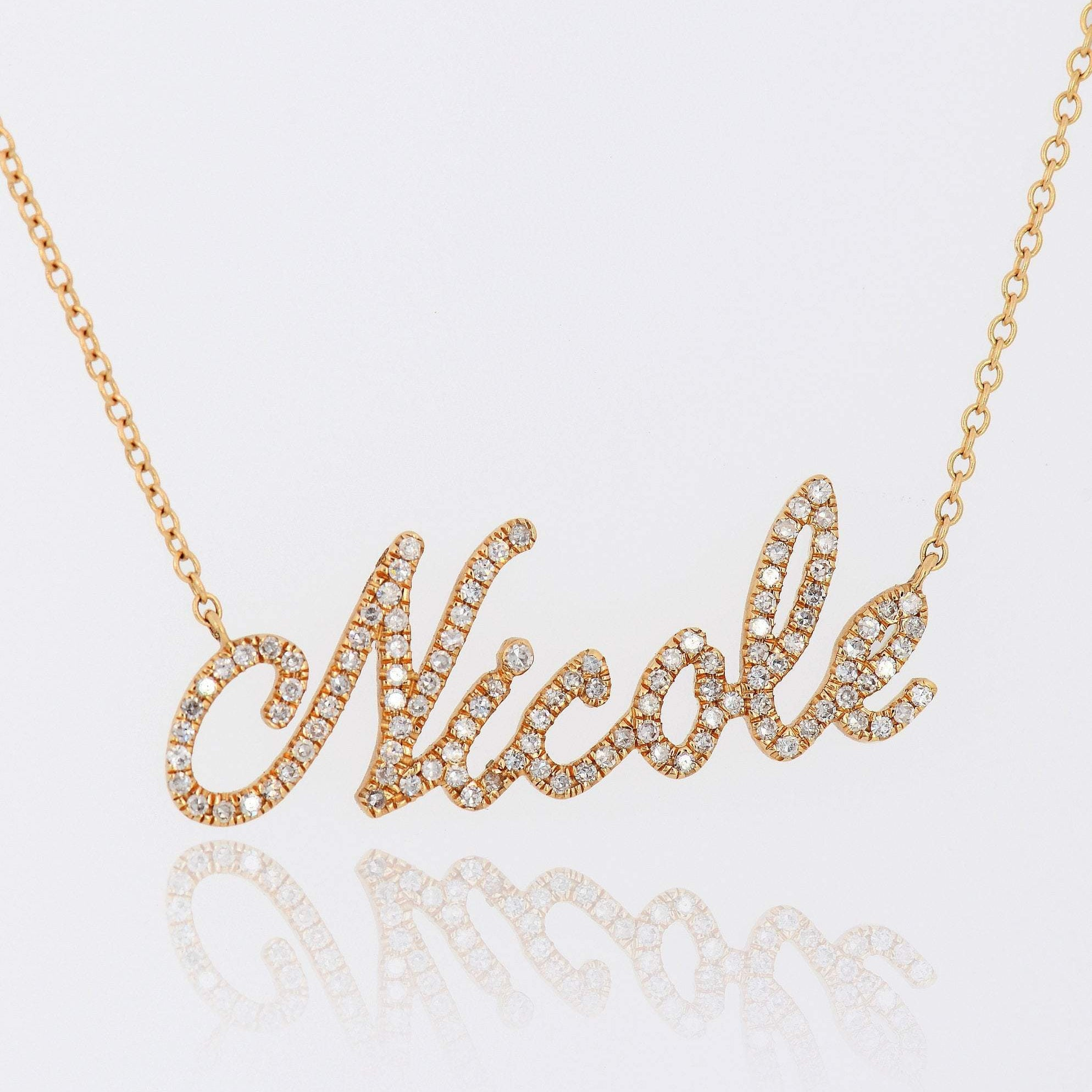 Script nameplate necklace, 14k Gold Diamond nameplate Letter necklace