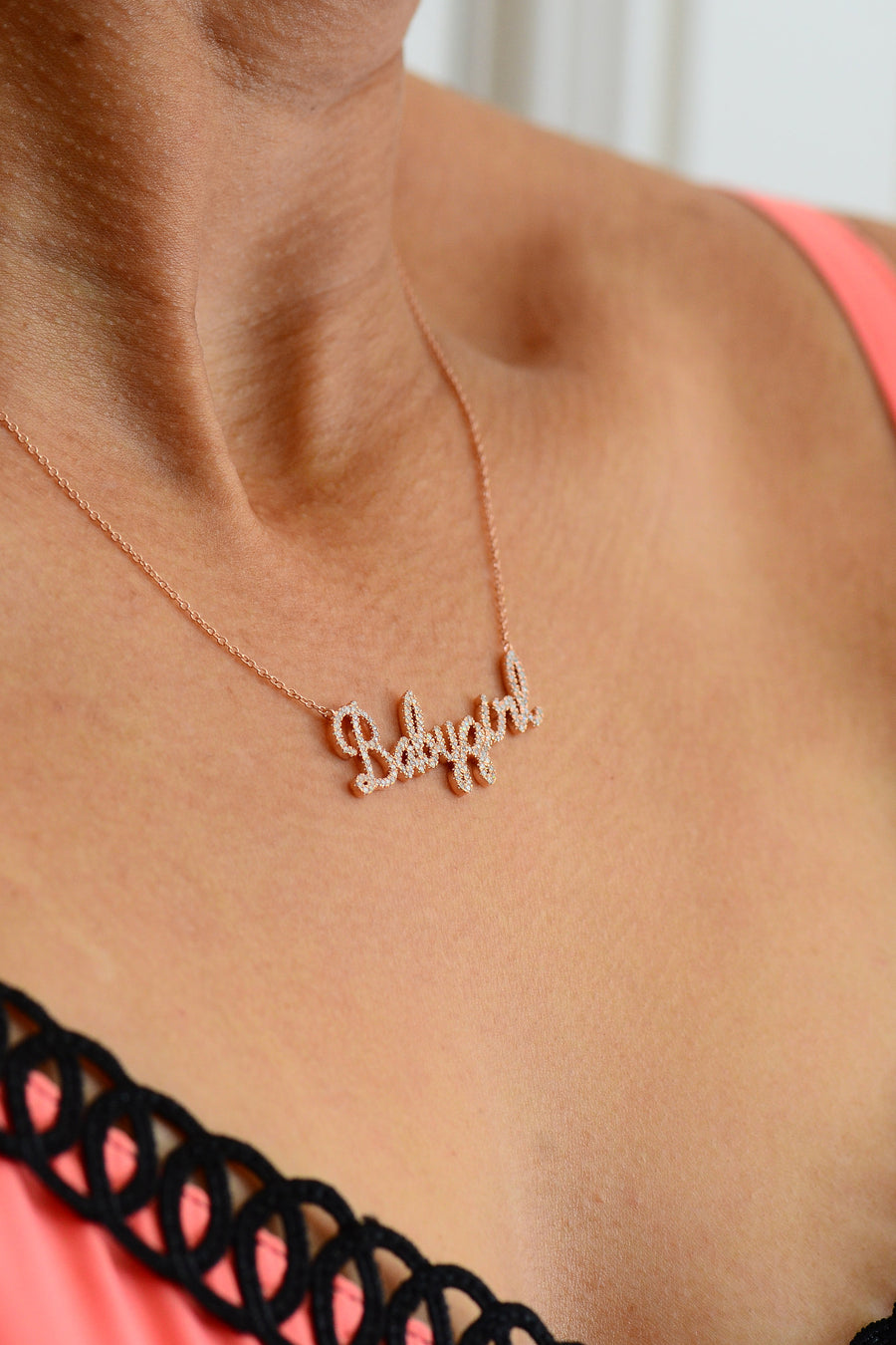 Custom Name Necklace, 14K Diamond Name Necklace Rose Gold