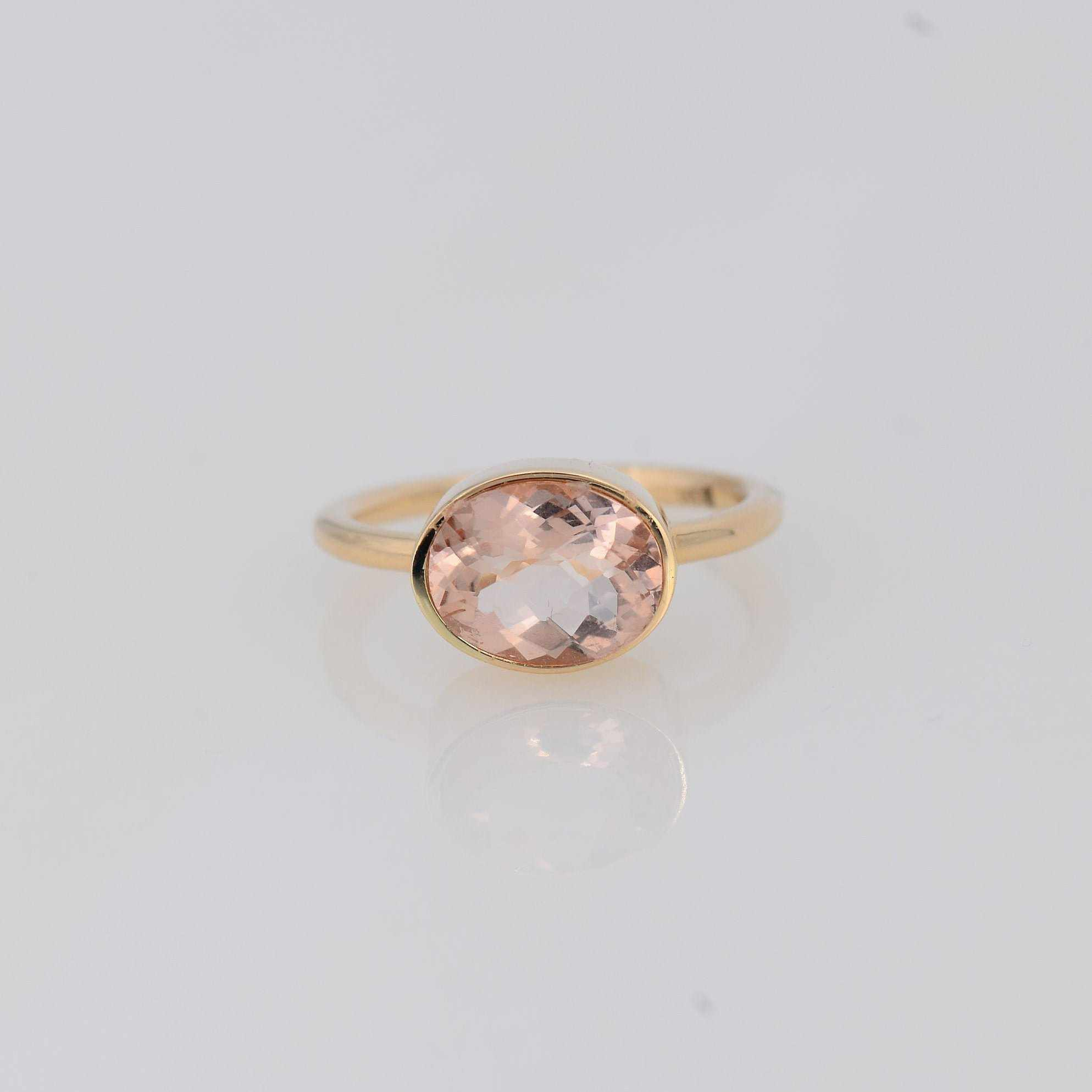 14k Gold Morganite ring, Genuine Gemstone ring, Blush pink ring, Oval Morganite ring, Mother's ring, Gold ring, Simple Solitaire Wedding