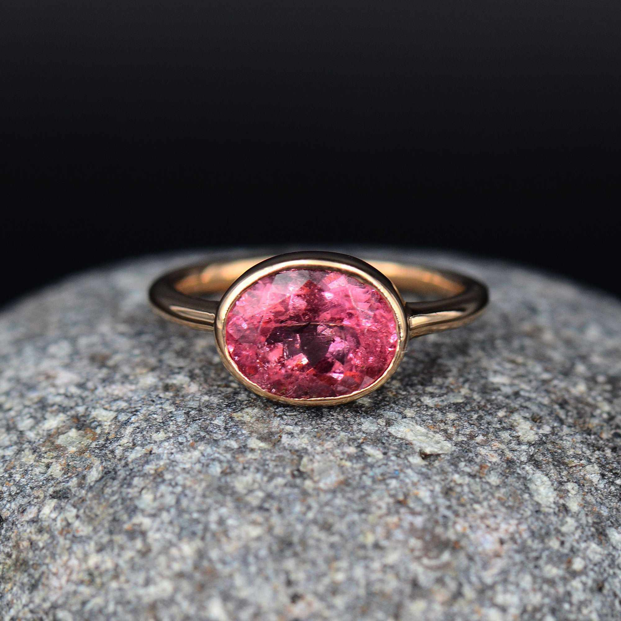 Pink Tourmaline Ring, Multi Tourmaline Ring, Genuine Tourmaline, Sterling Silver Solid Gold Gemstone Ring, Solitaire Ring Natural Tourmaline