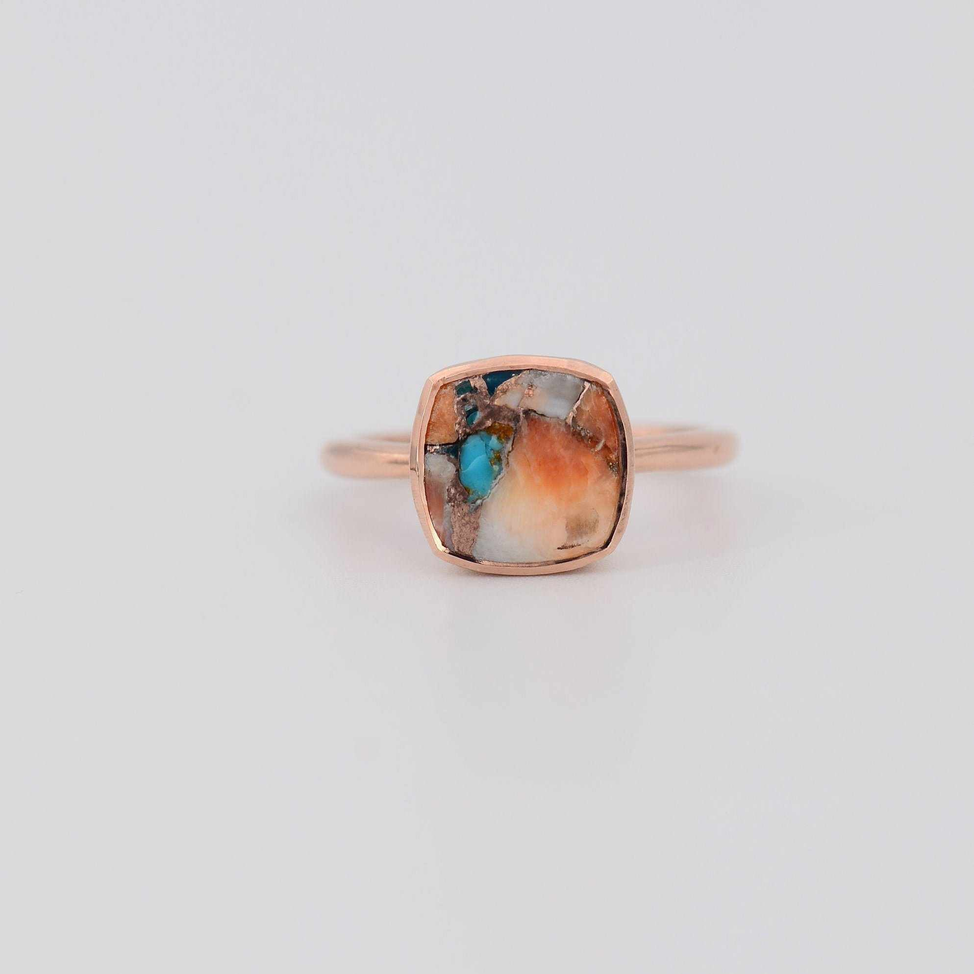 Turquoise Ring, Pink Opal Copper Turquoise ring, Mother's day gift for her, Cushion Ring, Turquoise Gemstone Ring, 925 Sterling silver Ring