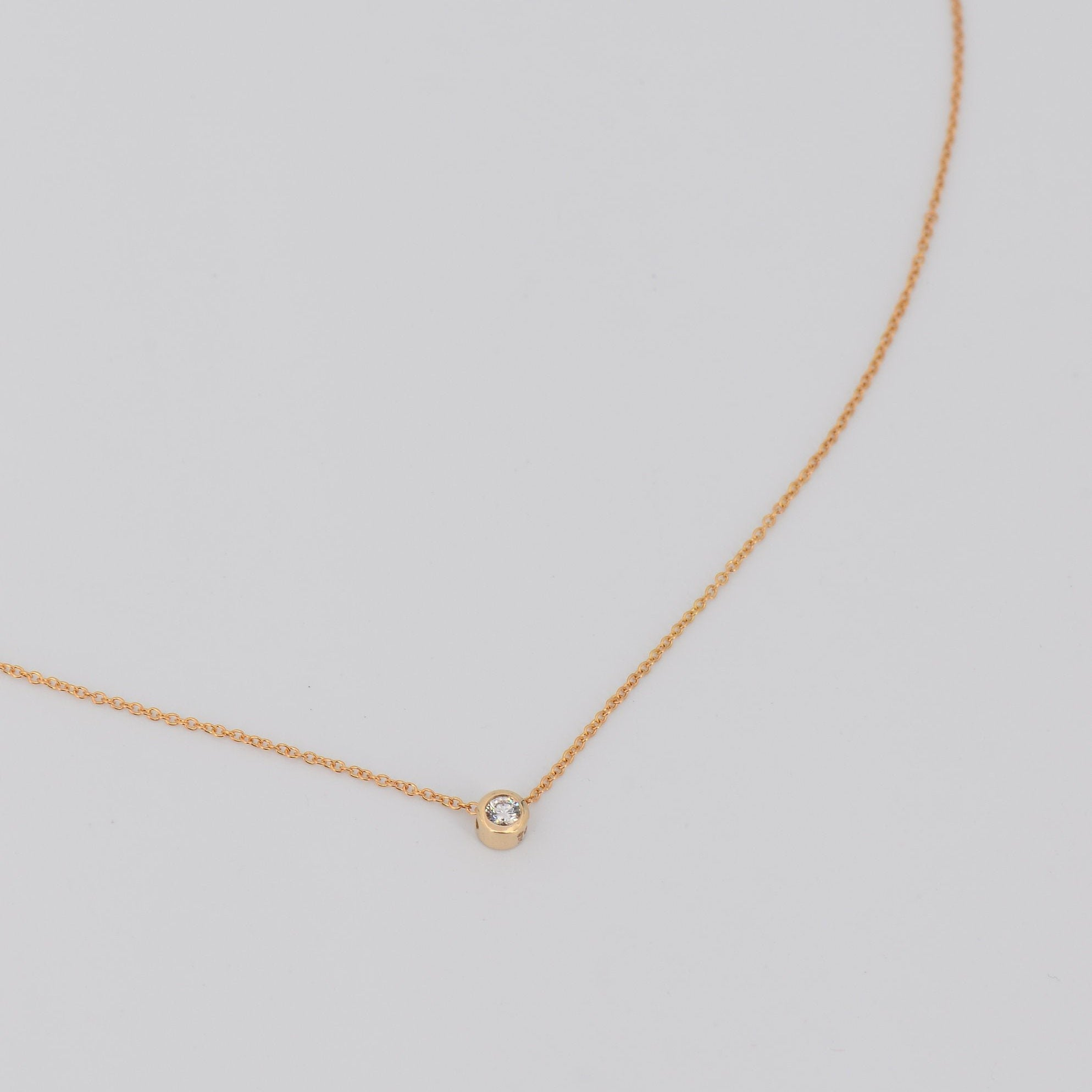 Solitaire Diamond Necklace, Dainty Diamond Pendant