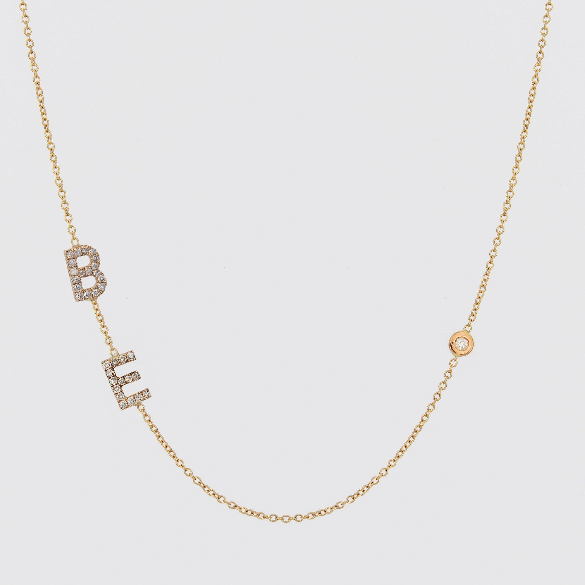 Diamond Initials Sideways Necklace, Alphabet Letter Necklace