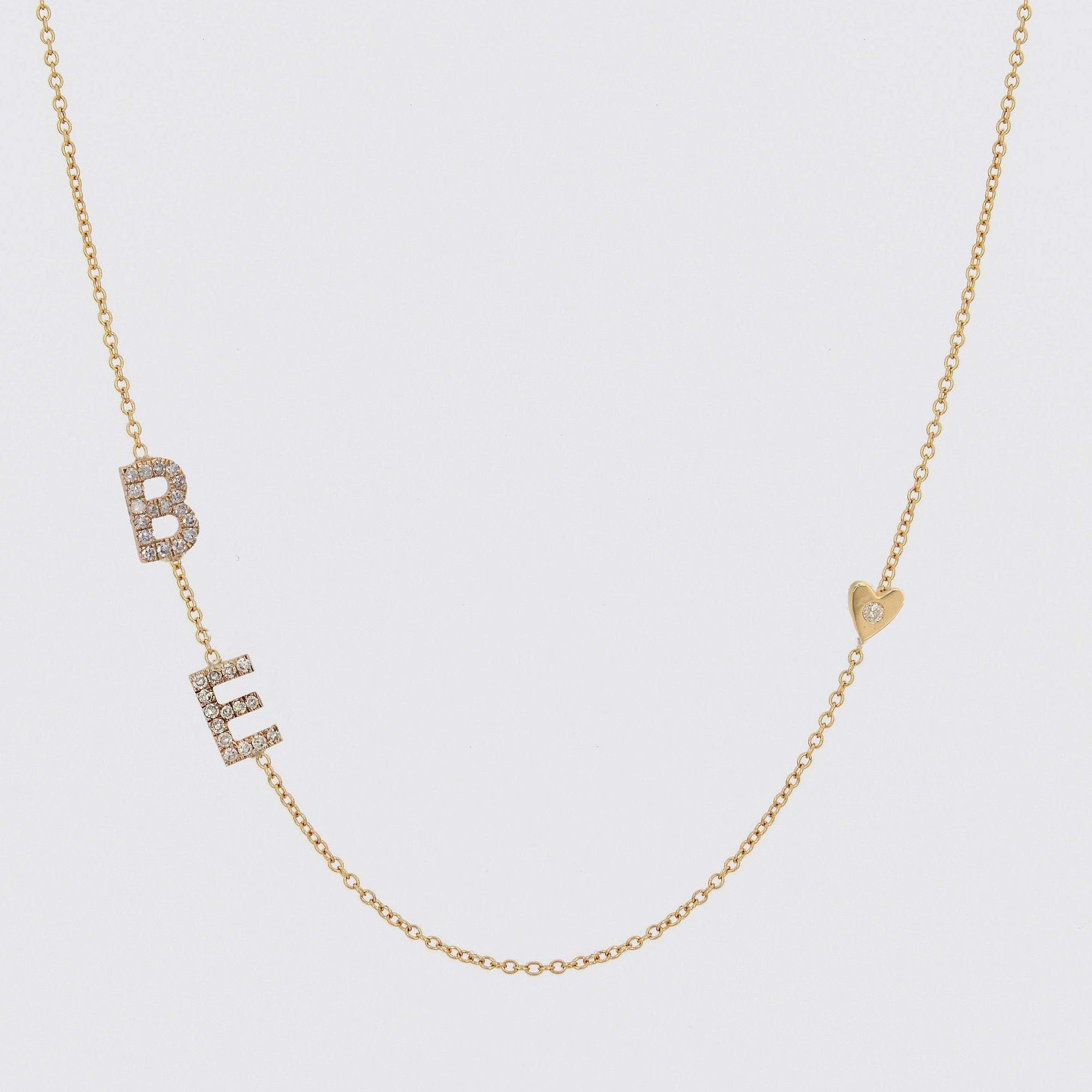 Sideways Initial Necklace with Heart and Diamonds, Alphabet Letter Necklace