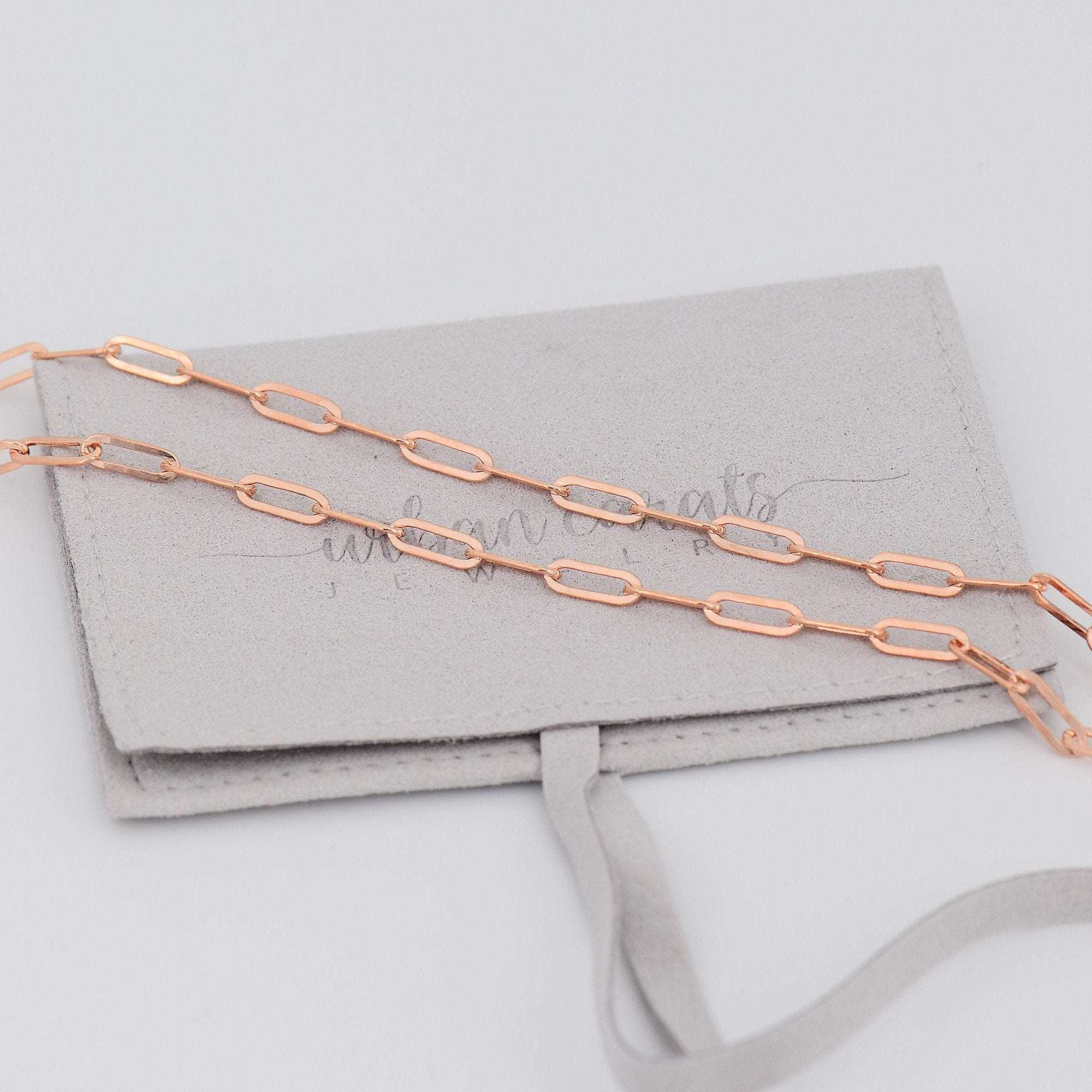 Paperclip Chain Rose Gold Filled Necklace,Rectangle Link Chain Gold Layering Choker Collar Oval Elongated Link Chain Necklace Fashion 14k