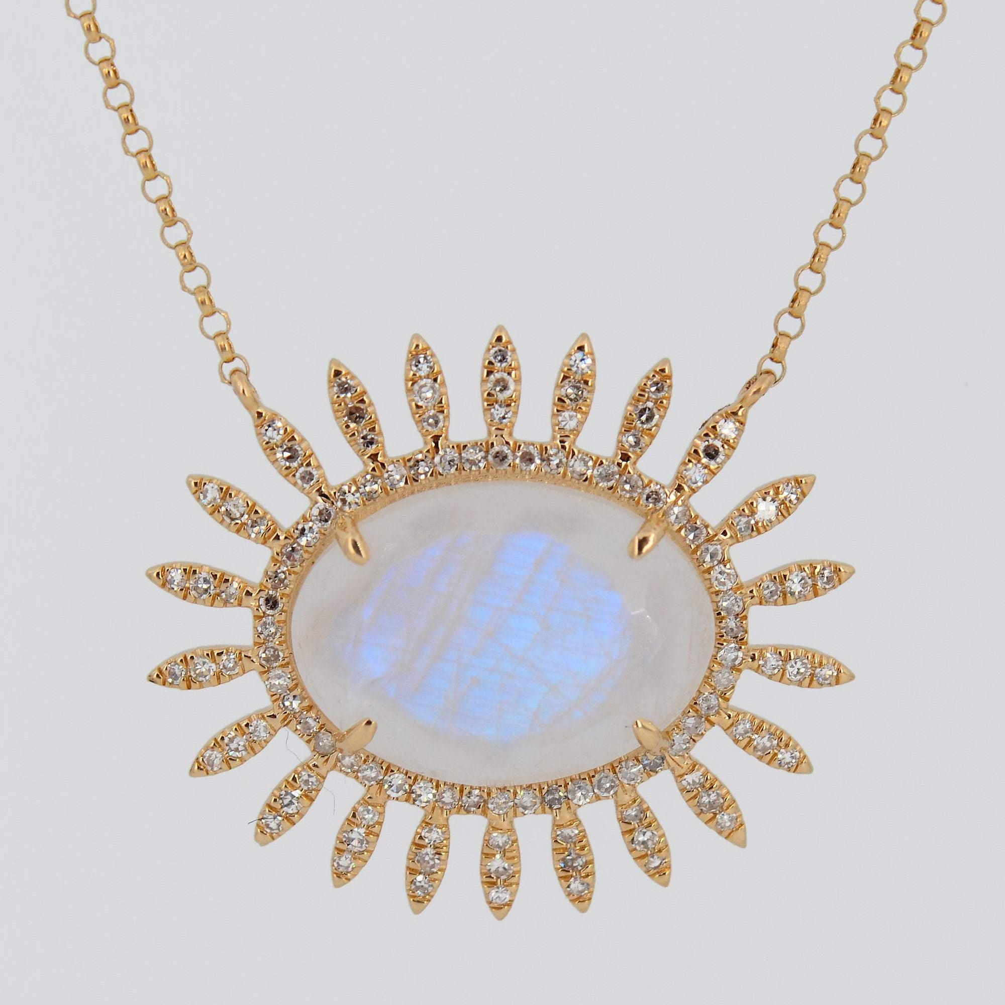 Moonstone Diamond Necklace, Statement Necklace