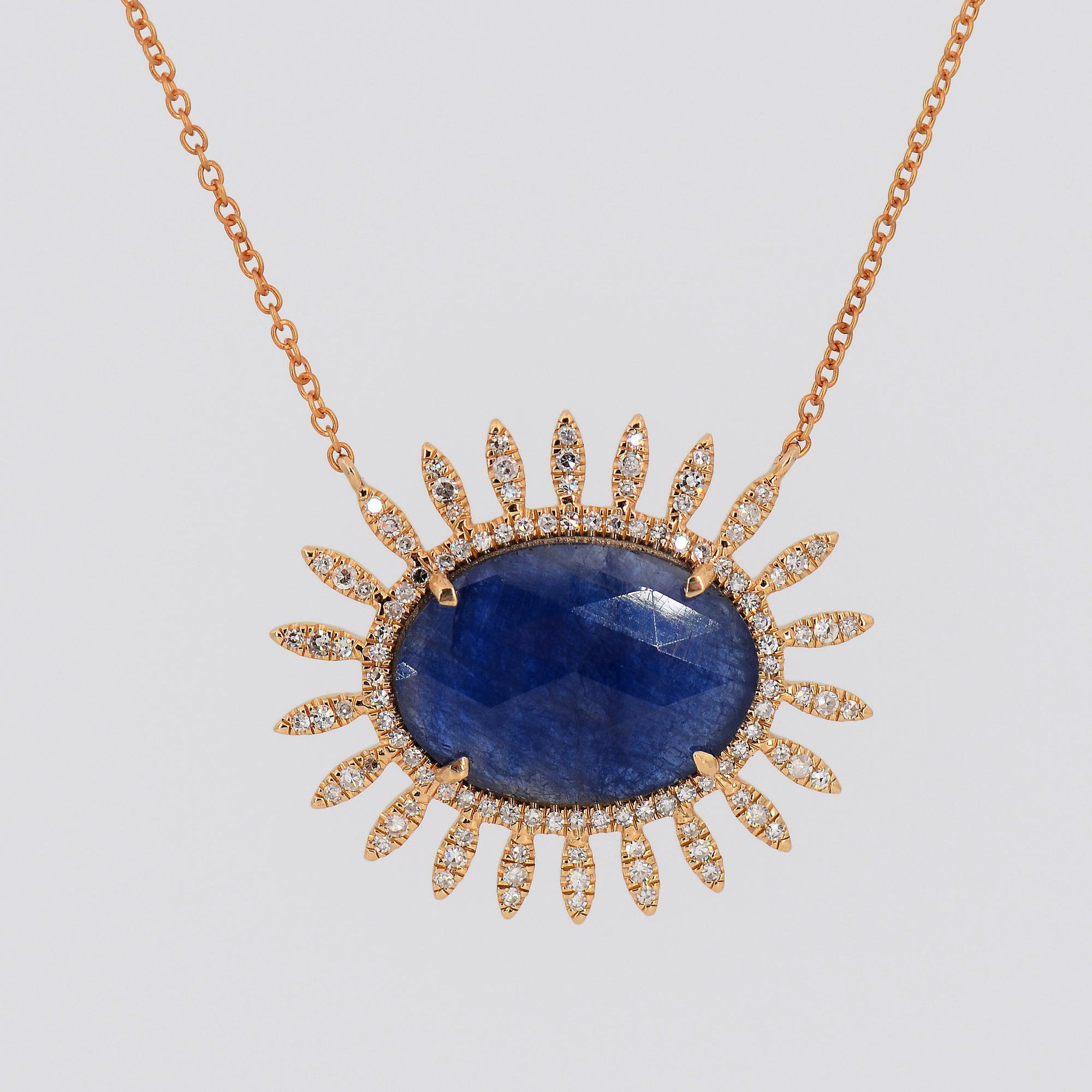 Diamond Sapphire Necklace, Statement Necklace