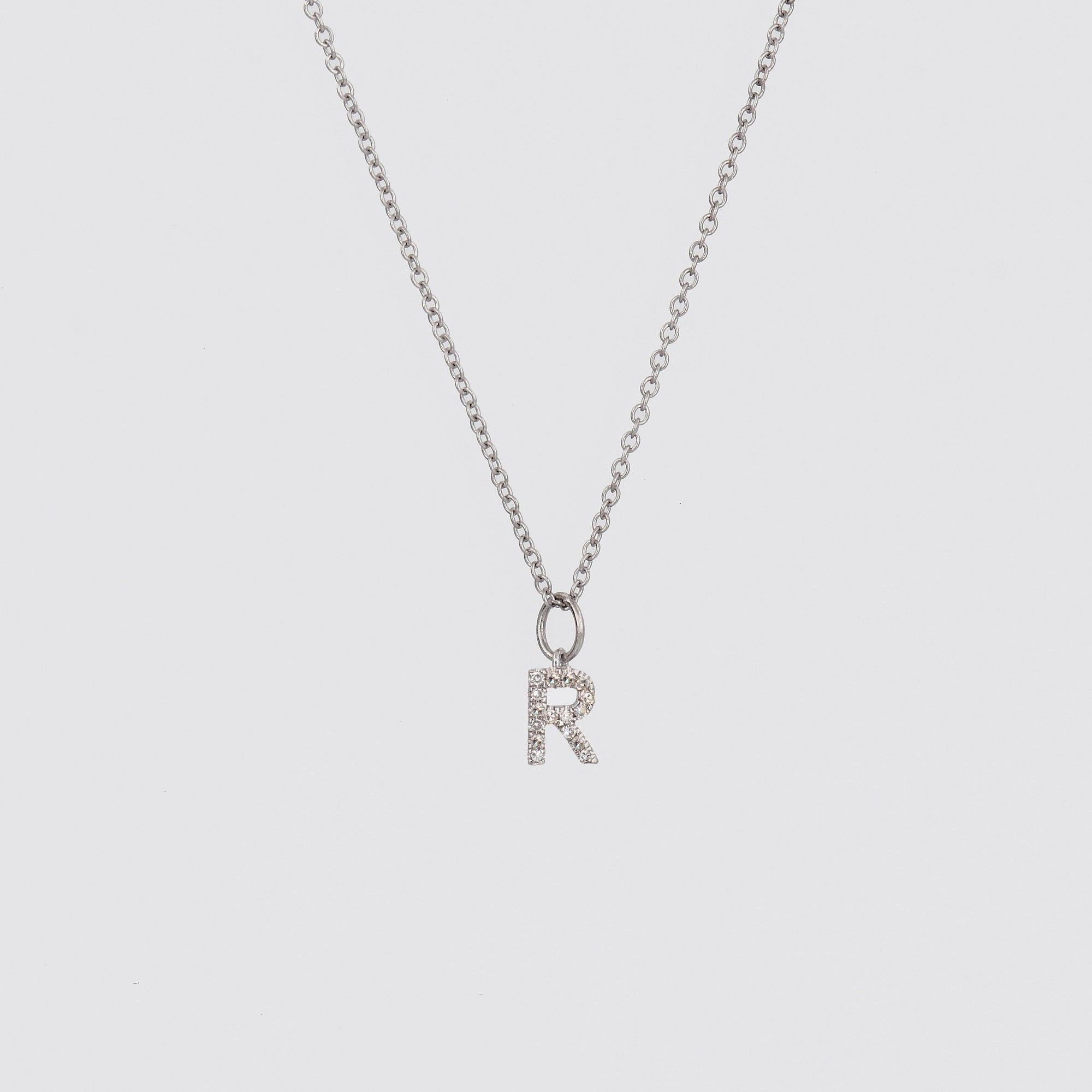 14k White Gold Initial Letter necklace, Pave Initial Necklace