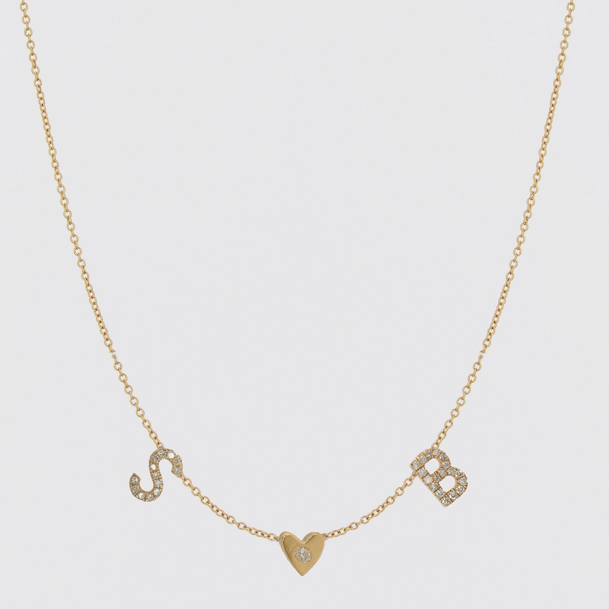 Diamond Initials Necklace with Heart, Alphabet Letter Necklace