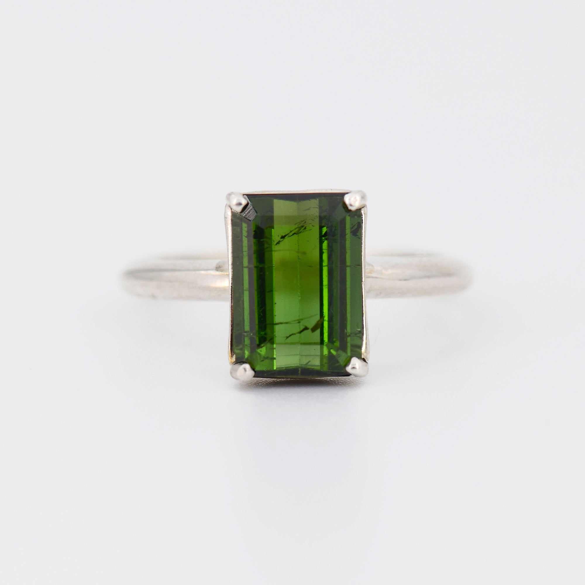Multi Tourmaline ring, Natural green Tourmaline ring, October Birthstone ring, Emerald shape Gemstone ring, Sterling silver Everyday ring