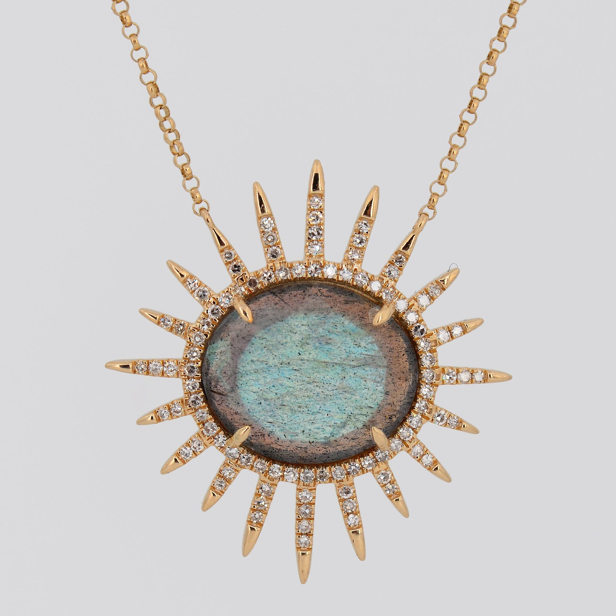 Labradorite Diamond Necklace, Statement Necklace
