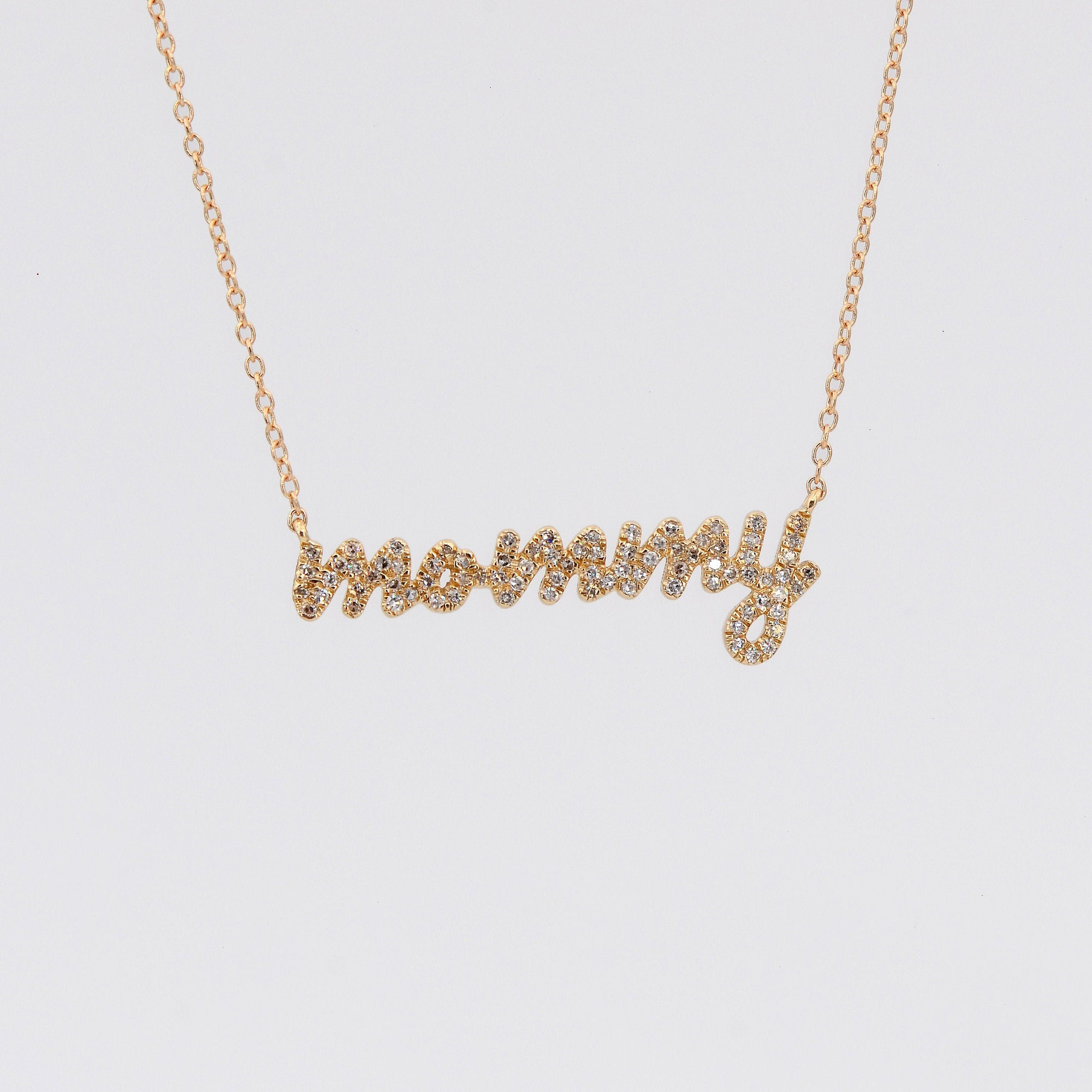Mommy necklace, Diamond mommy necklace,mommy mama necklace, Dainty Nameplate, 14k Necklace, Custom Name Necklace Gift, Gift for mother's