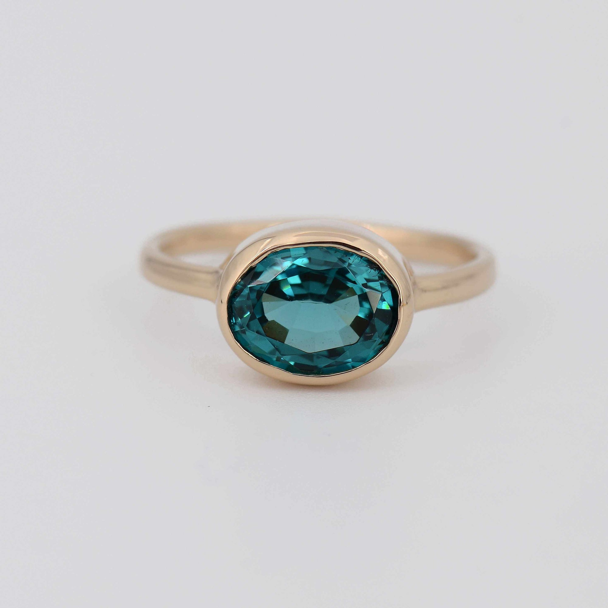 14k Gold Teal Sapphire Ring, Blue Green Sapphire, Montana Sapphire, September Birthstone, Stackable Solid Gold, Solitaire Bezel Set Oval Cut