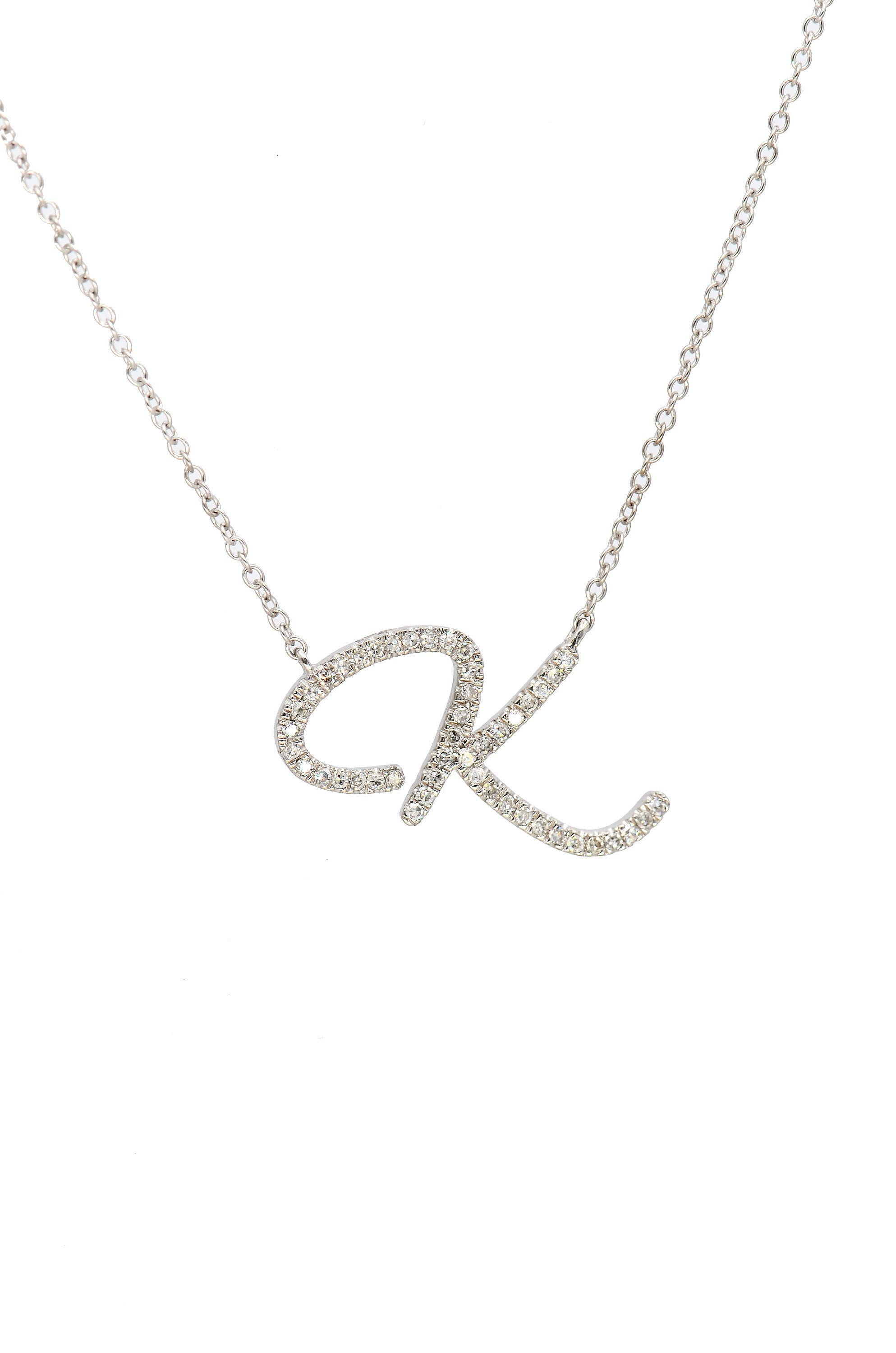 White Gold Diamond Initial Necklace, Customized Diamond Letter Alphabet Necklace, Bridal Diamond Necklace, 14K Initial Necklace