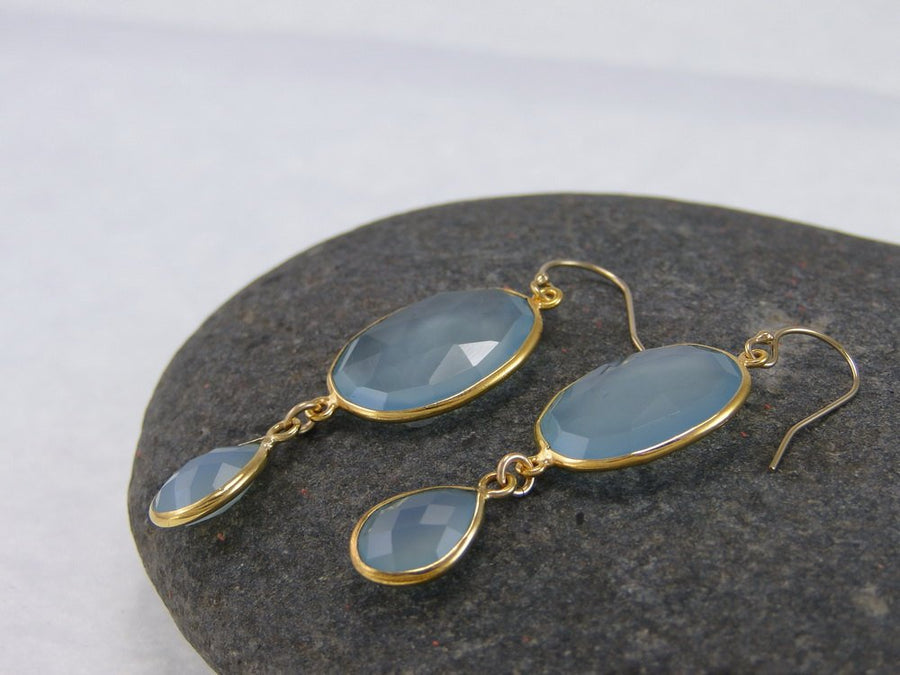 Aqua Chalcedony Double Drop Earrings - Bezel Earrings - Gemstone Earrings