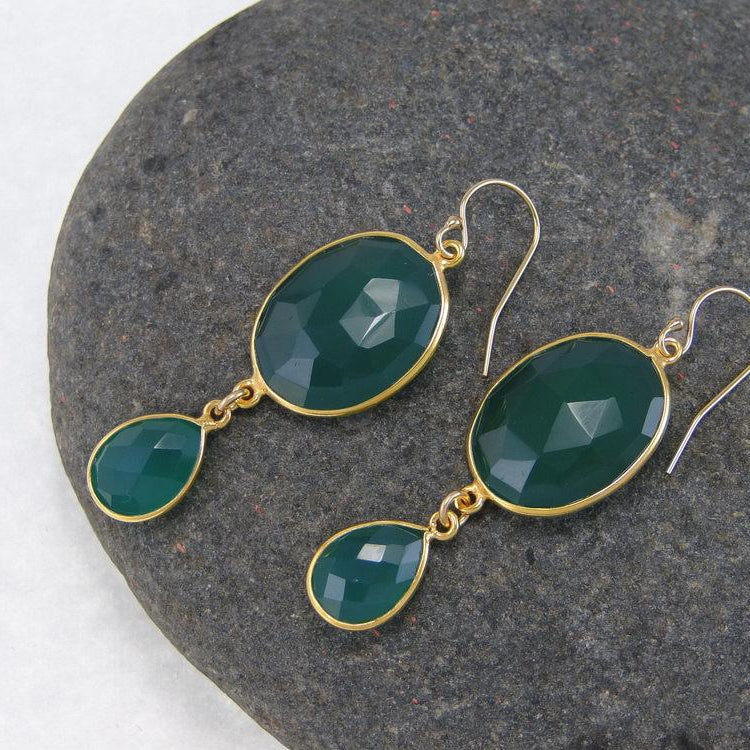 Green Emerald Onyx Double Drop Earrings - Bezel Earrings - Gemstone Earrings