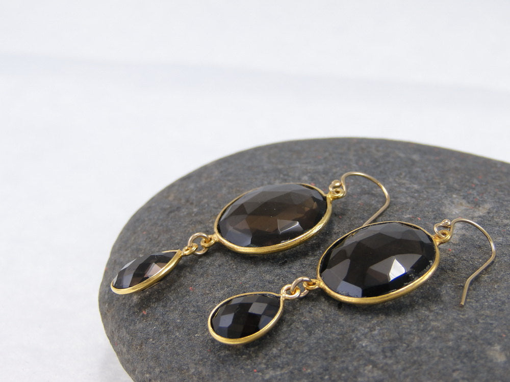 Smoky Quartz Double Drop Earrings - Bezel Earrings - Gemstone Earrings