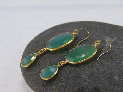 Chrysoprase Double Drop Earrings - Bezel Earrings - Gemstone Earrings